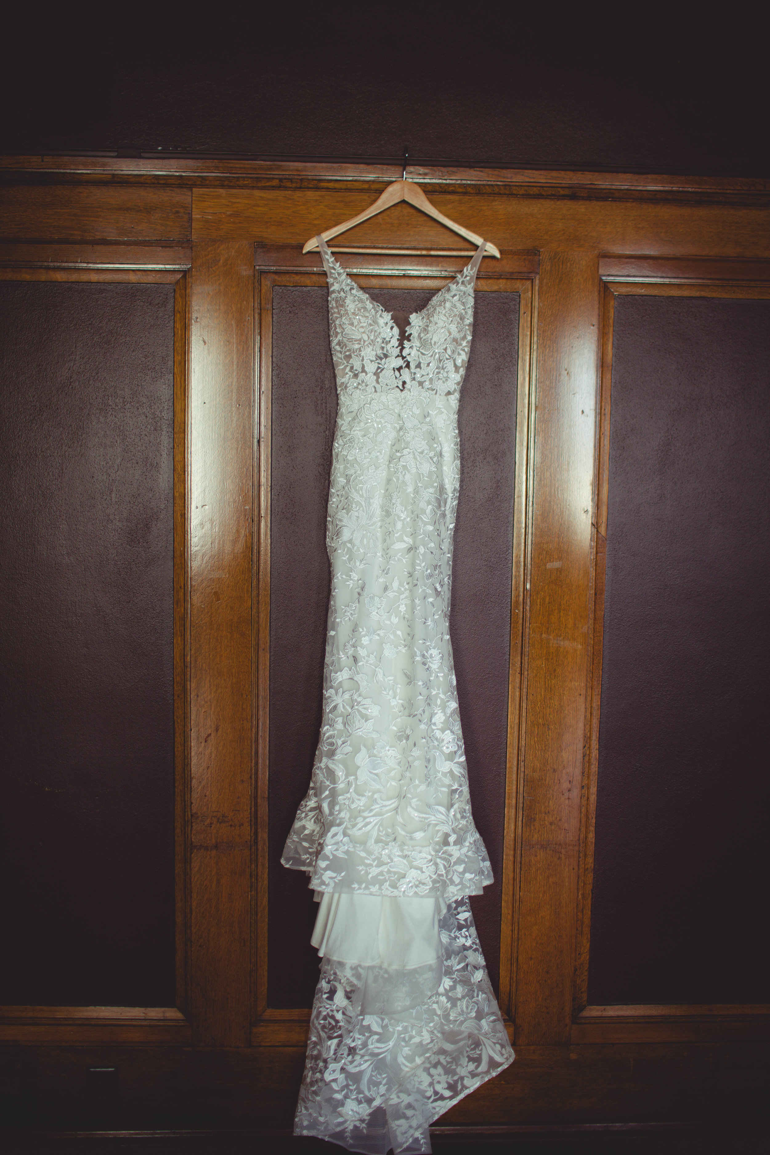 hanging wedding dress bride spokane