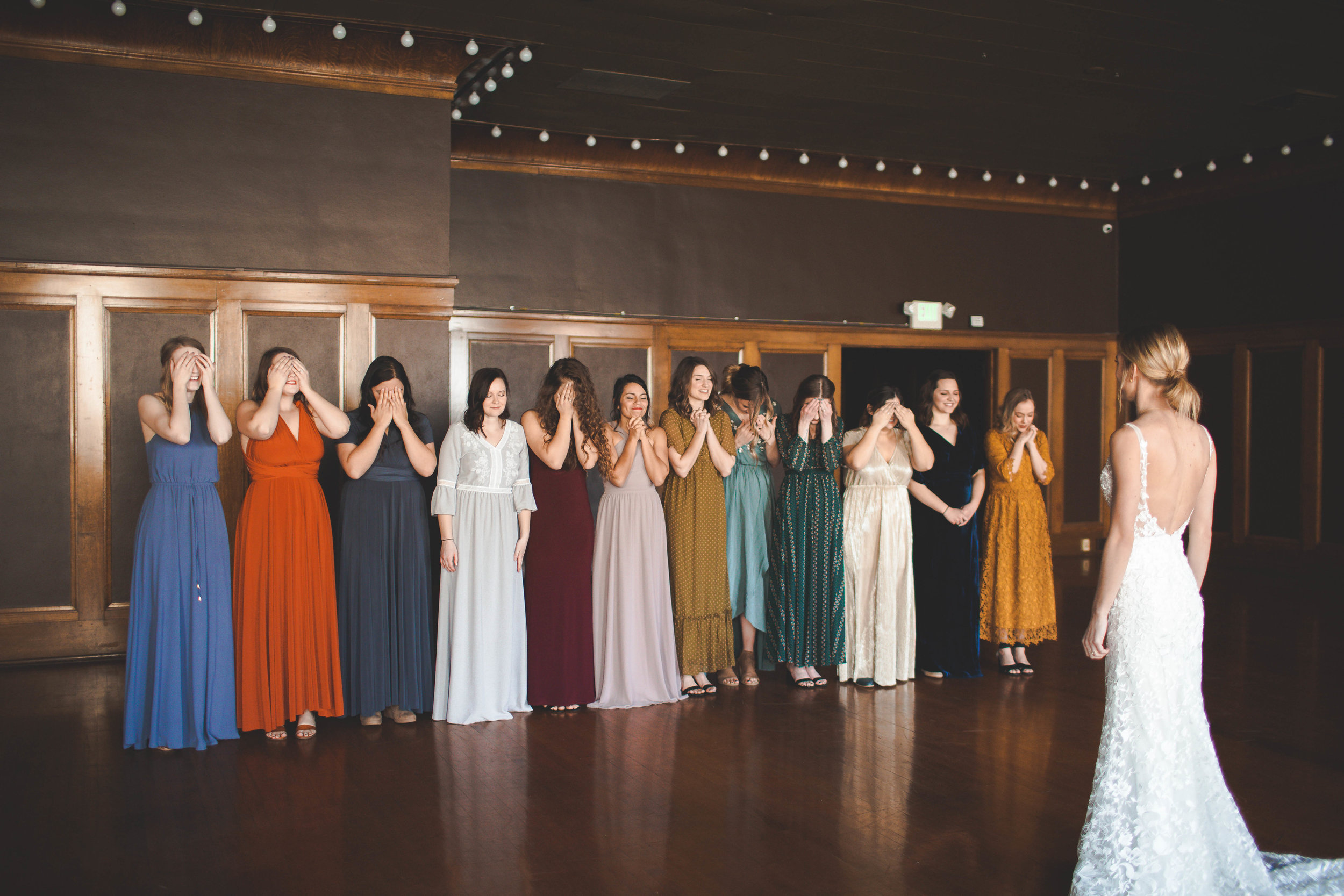 bridesmaids warm color wedding spokane bride