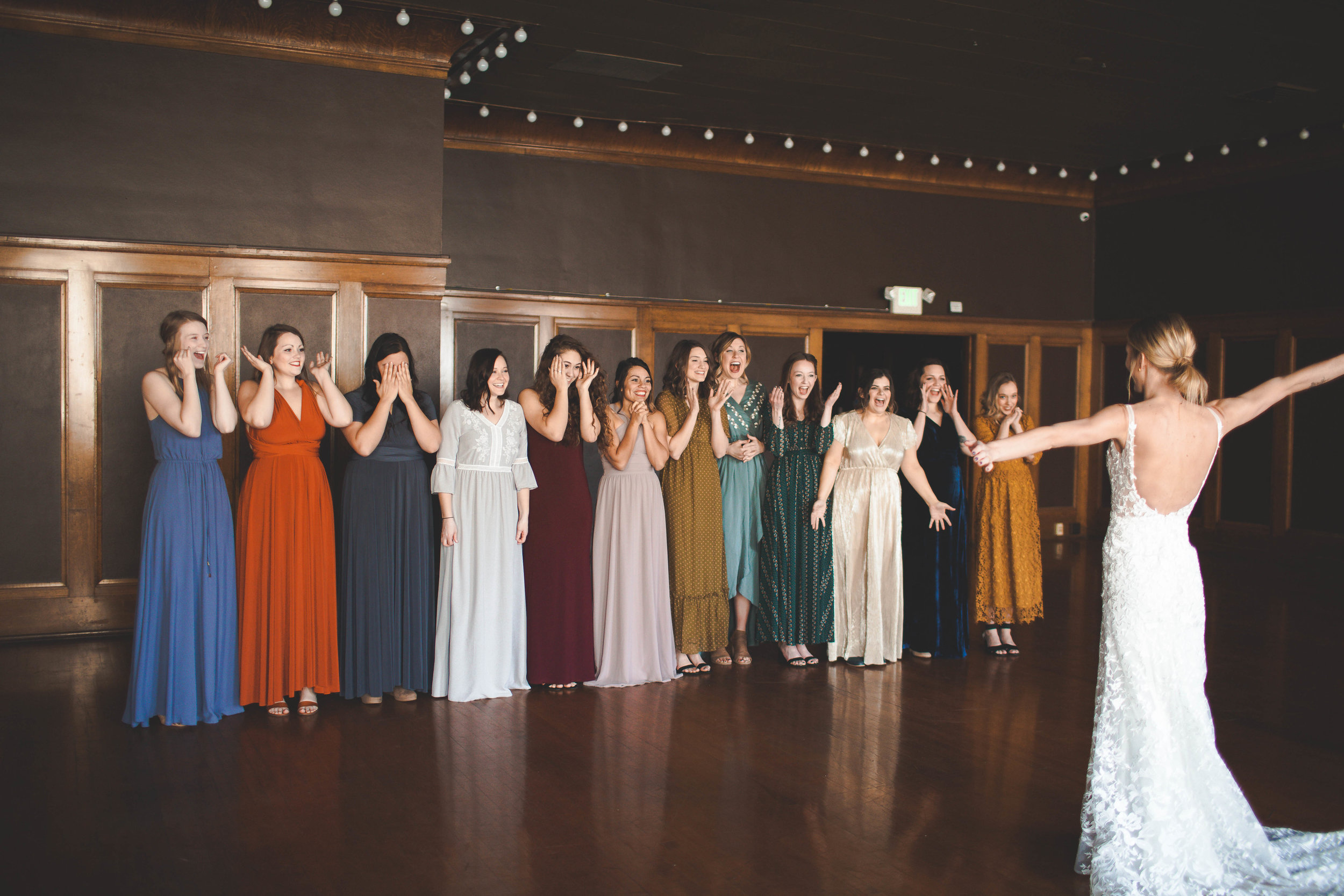 surprise bridesmaids wedding spokane bride