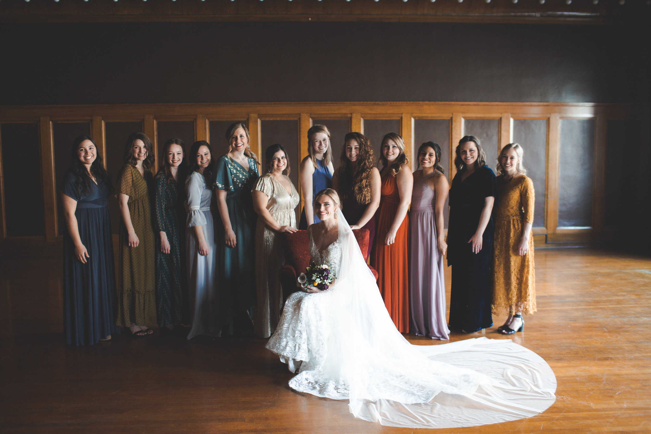 bridal party dark moody February wedding spokane bride