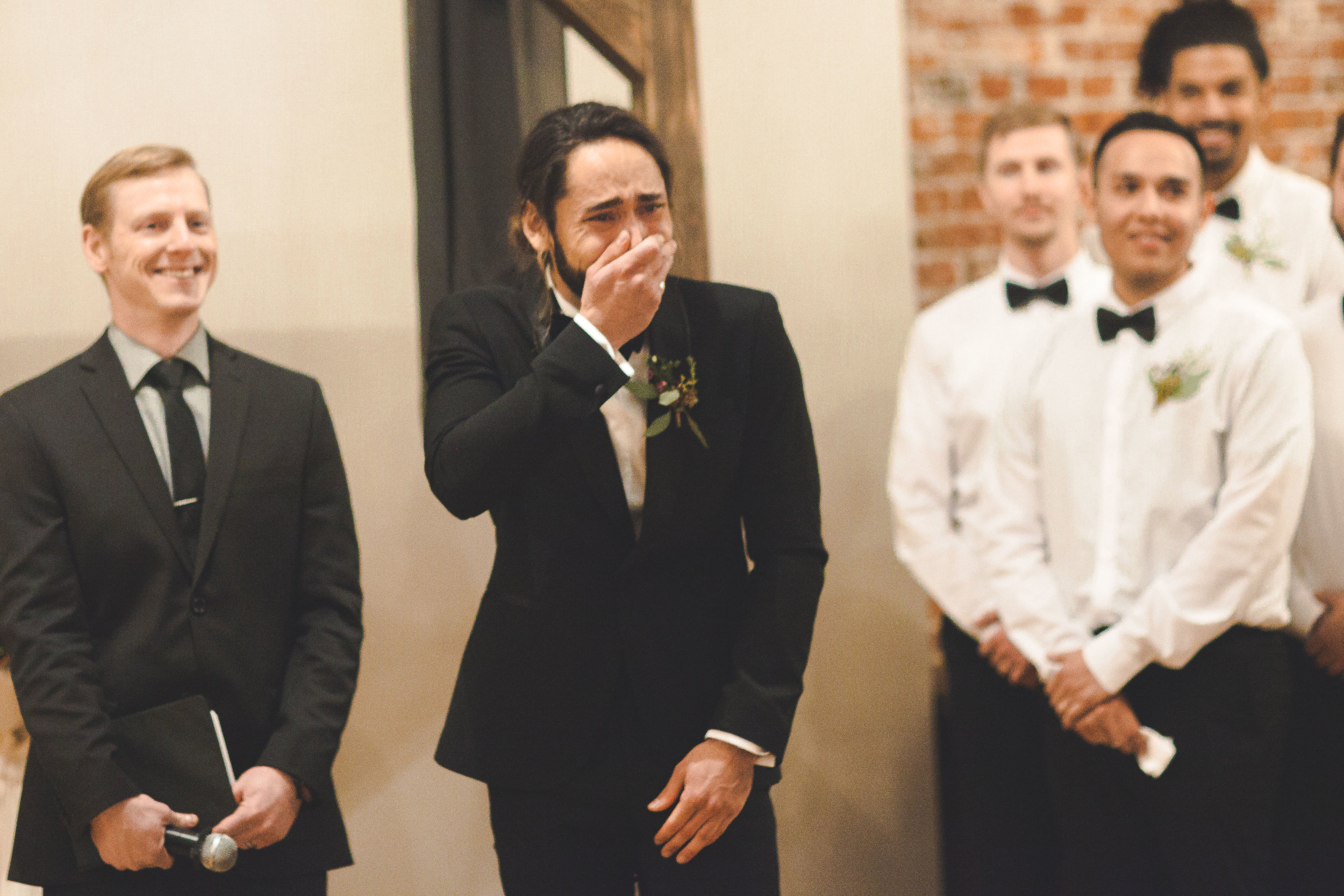 groom reacts to bride spokane wedding