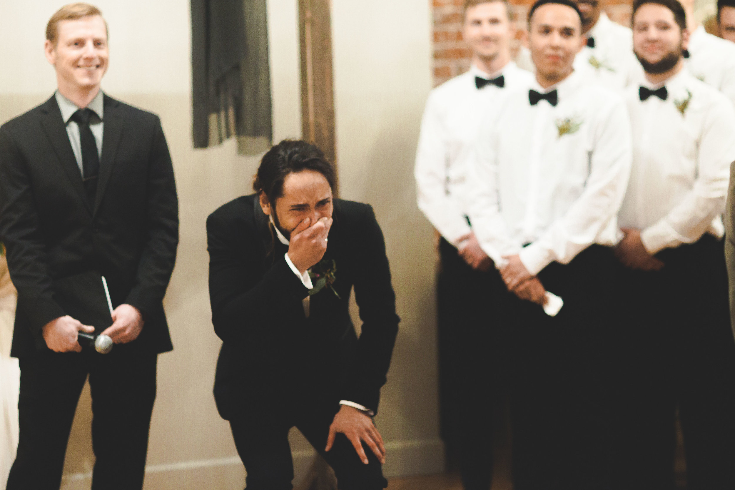 groom reacts to bride first look spokane wedding