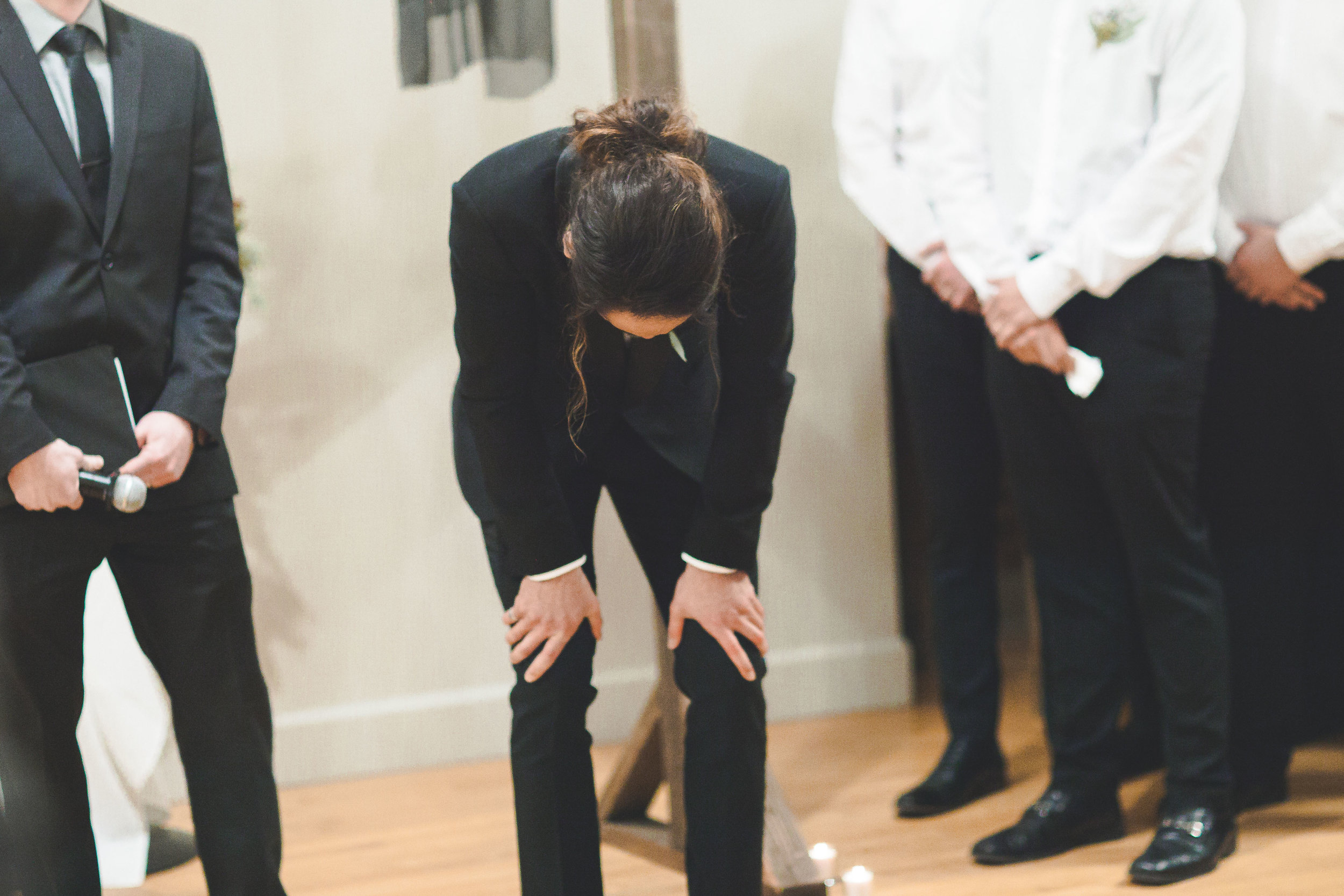 groom reacts to bride walking down aisle spokane wedding