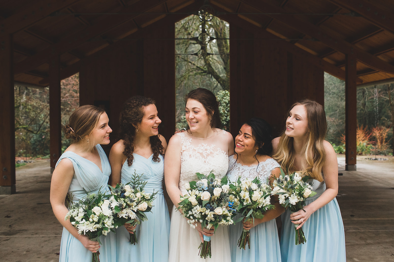 bridesmaids wedding blue green spokane bride
