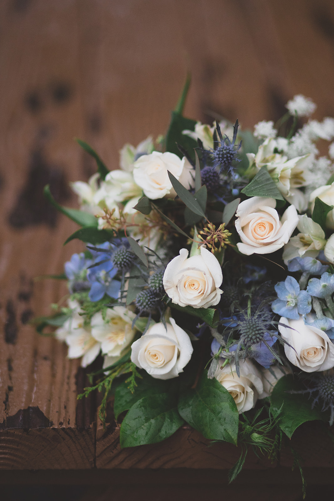 blue green white bouquet spokane wedding