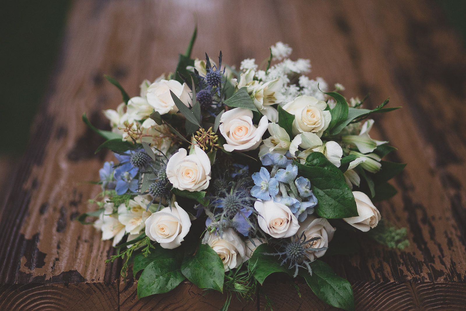 blue white green bouquet wedding spokane bride