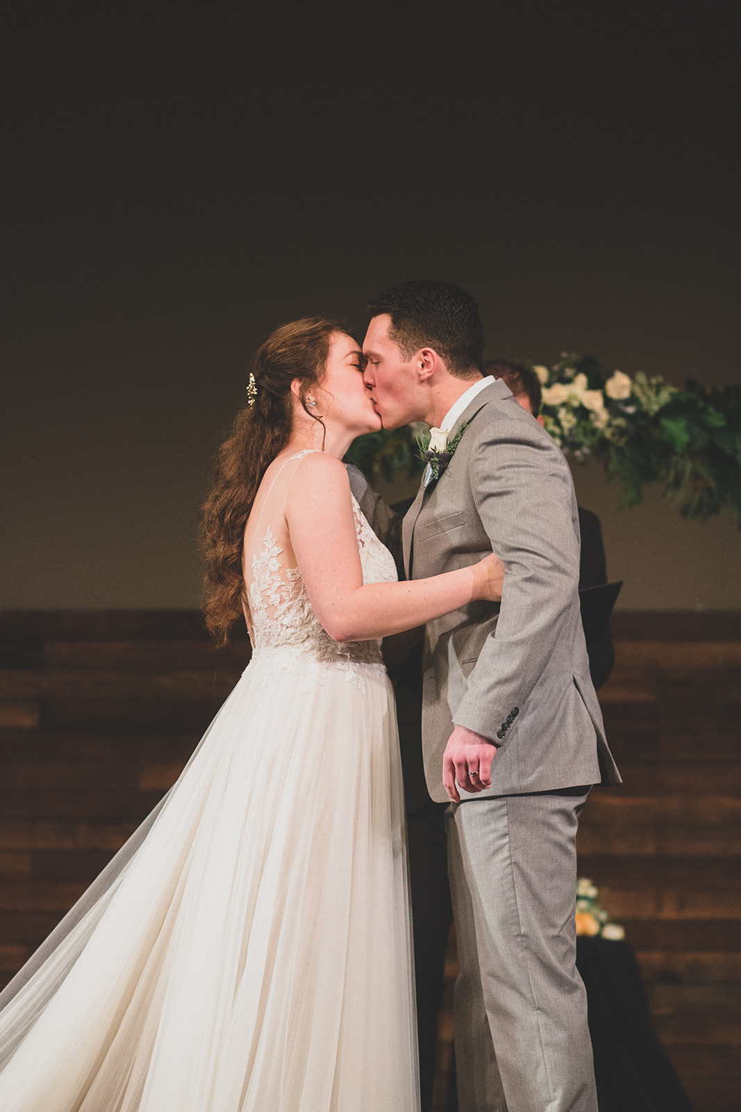 first kiss ceremony spokane wedding bride and groom