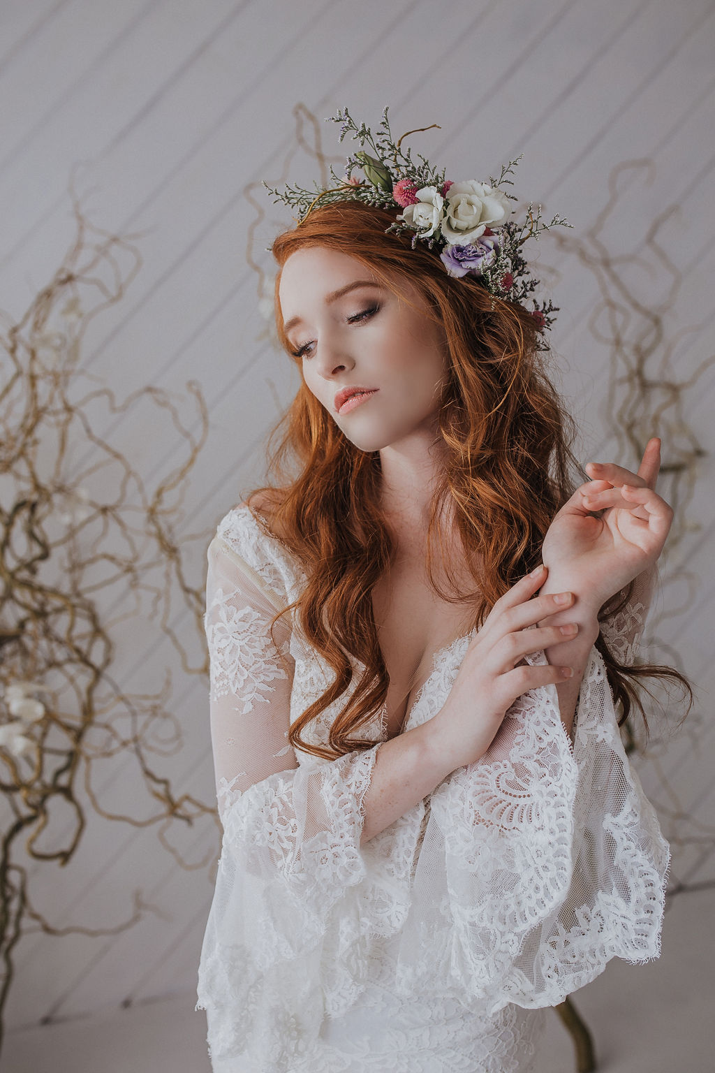 flower crown boho bride spokane wedding