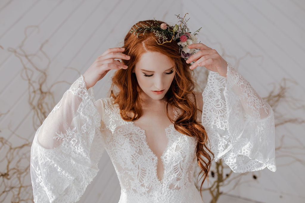 boho flower crown bell sleeves spokane wedding