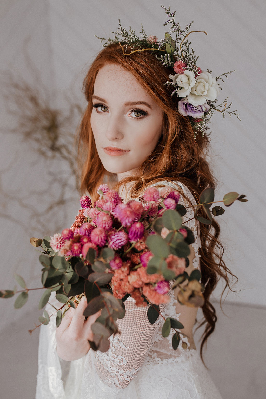 bouquet spring wedding spokane boho bride