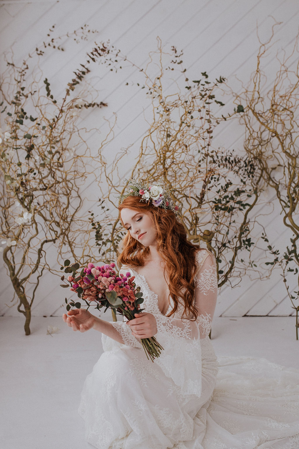 spokane bride wedding redhead boho