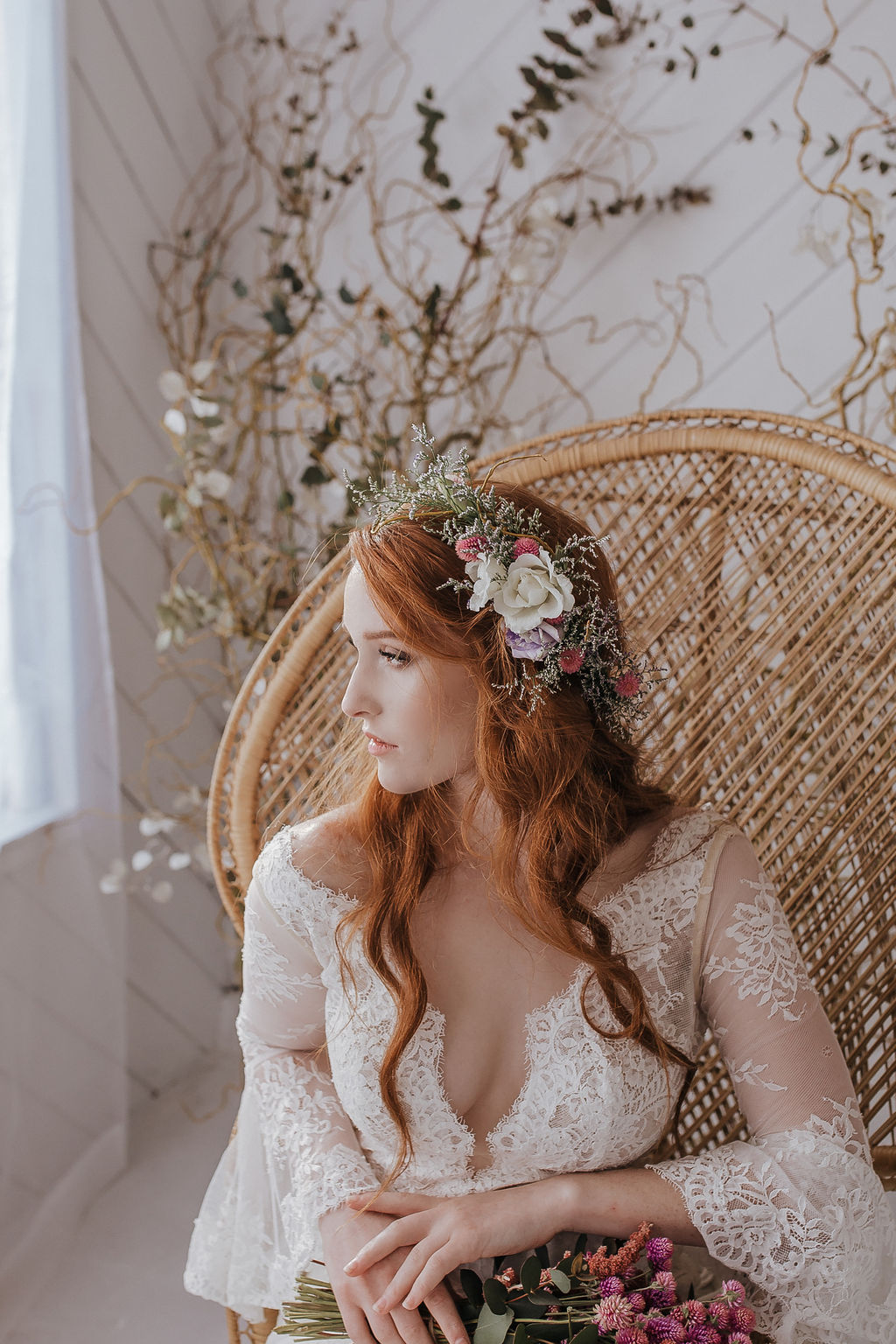 peacock chair boho bride florals spring wedding spokane
