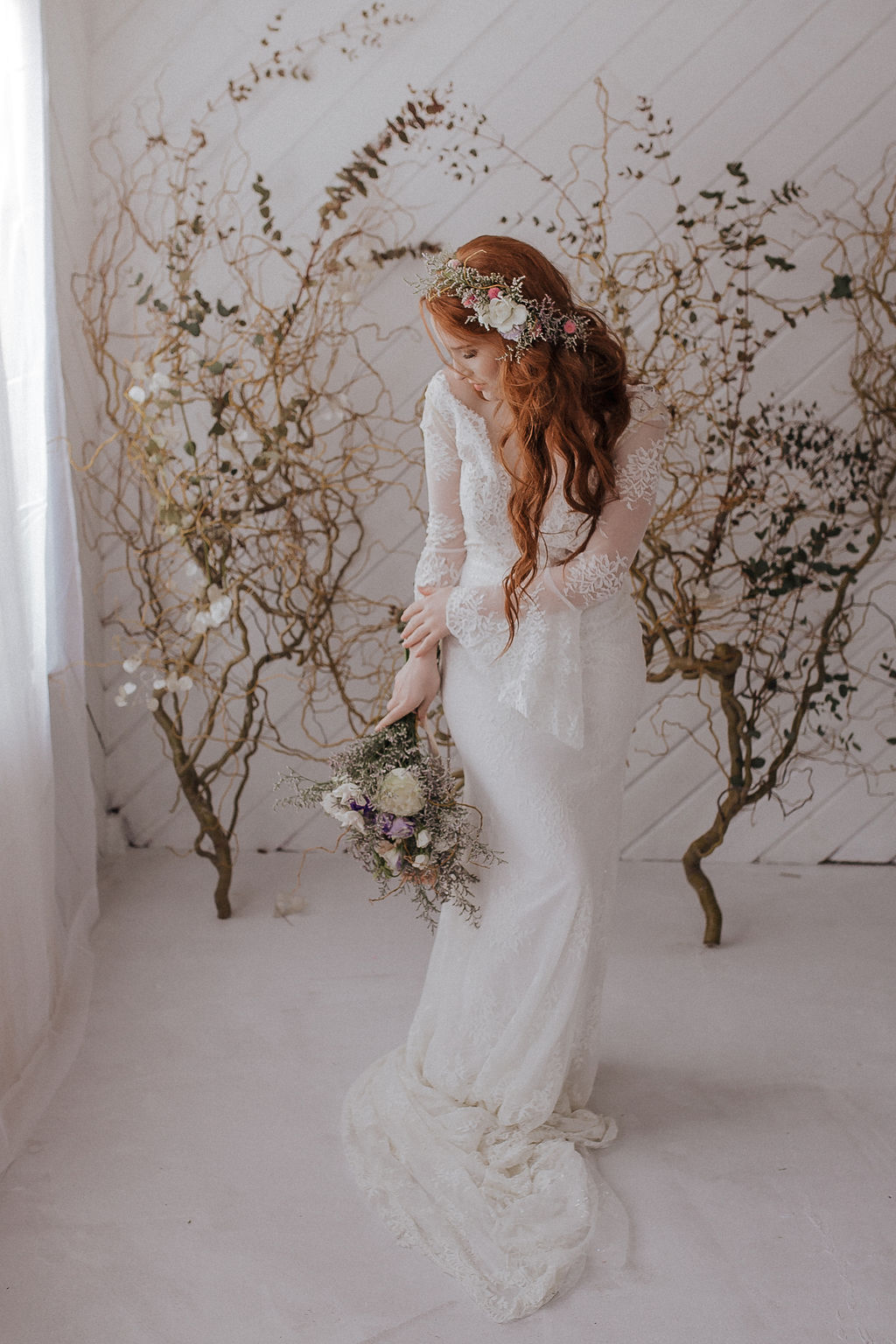 boho spring bride spokane wedding