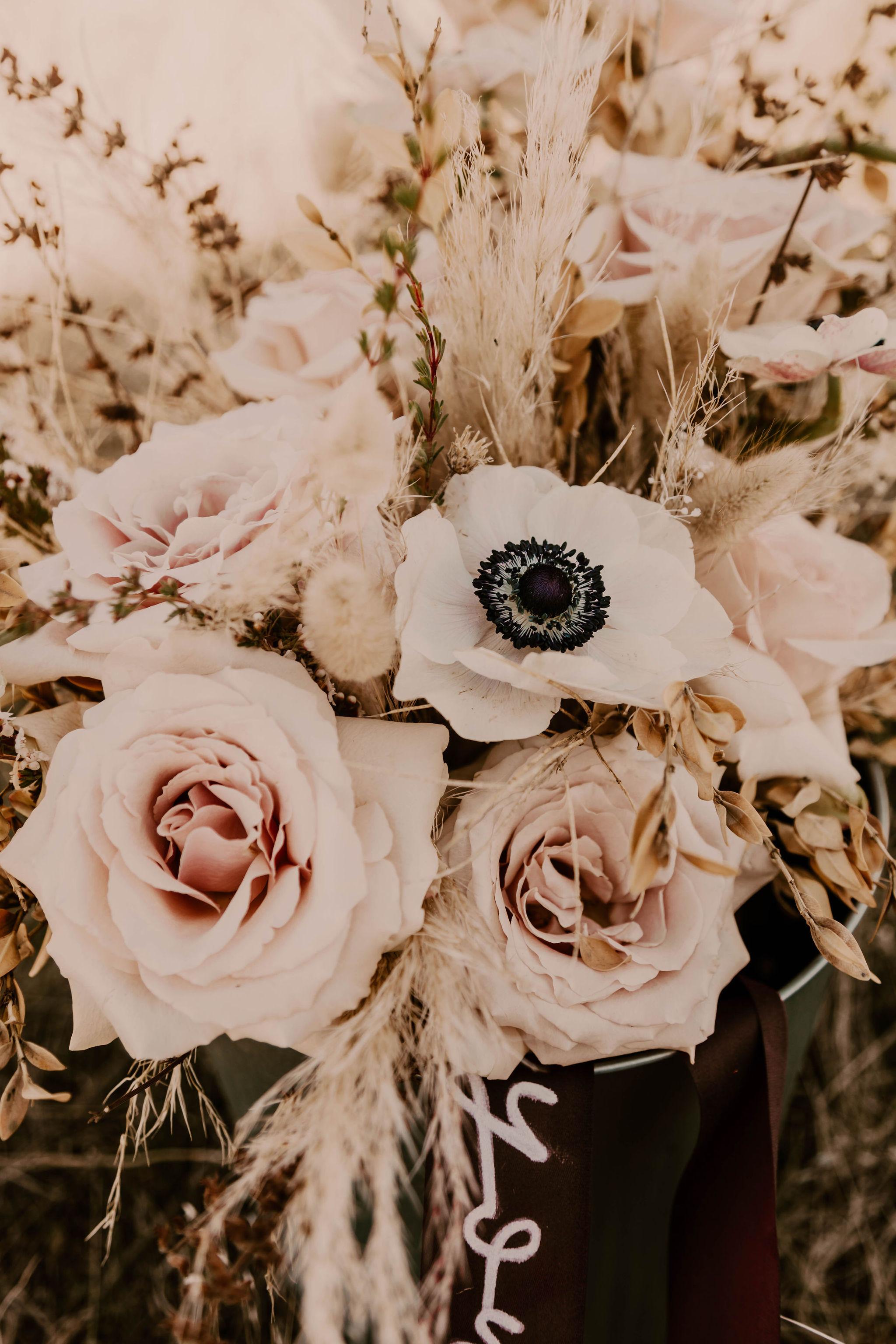 floral bridal bouquet summer wedding poppy spokane bride