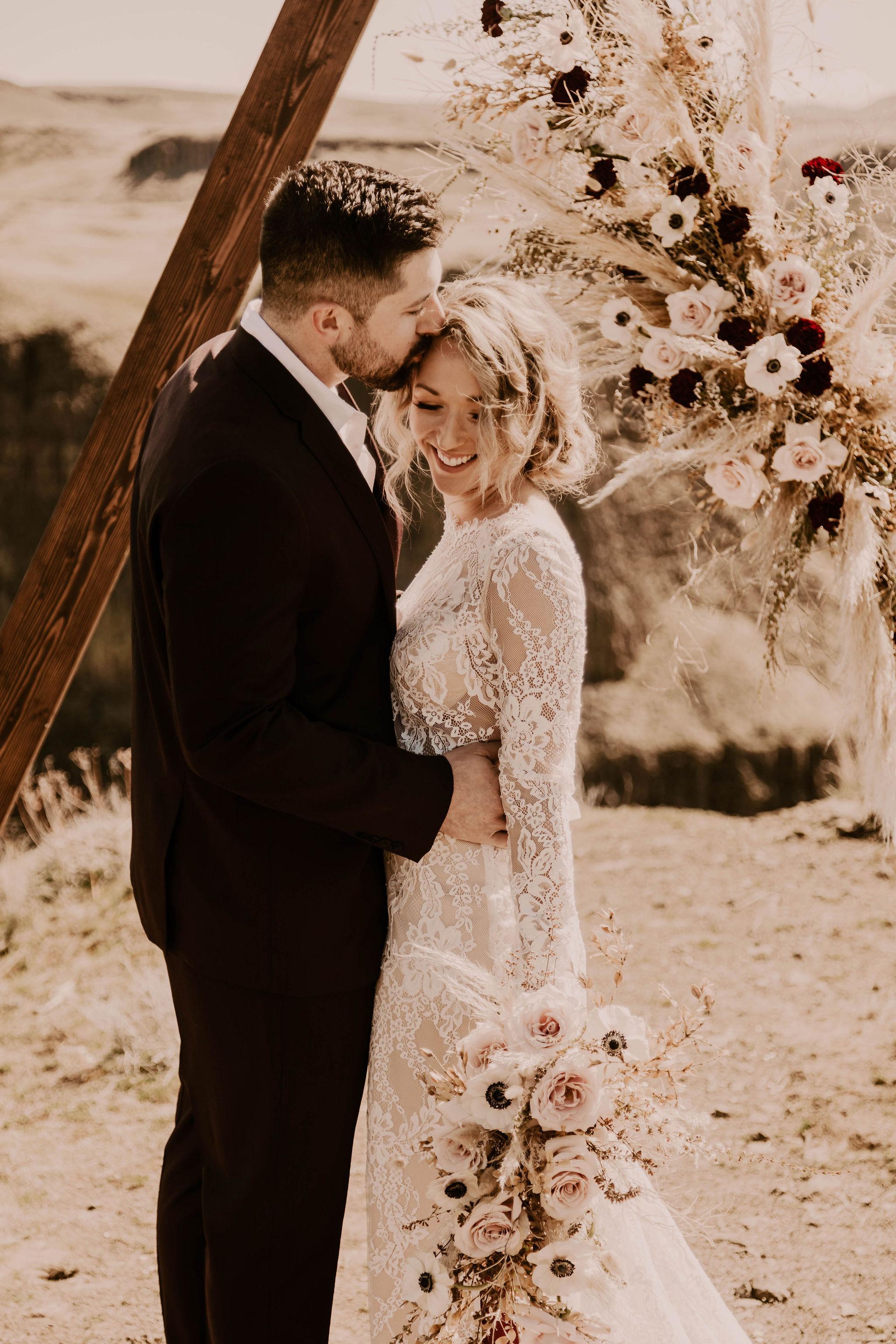 sweet married couple happy spokane bridal shop wedding