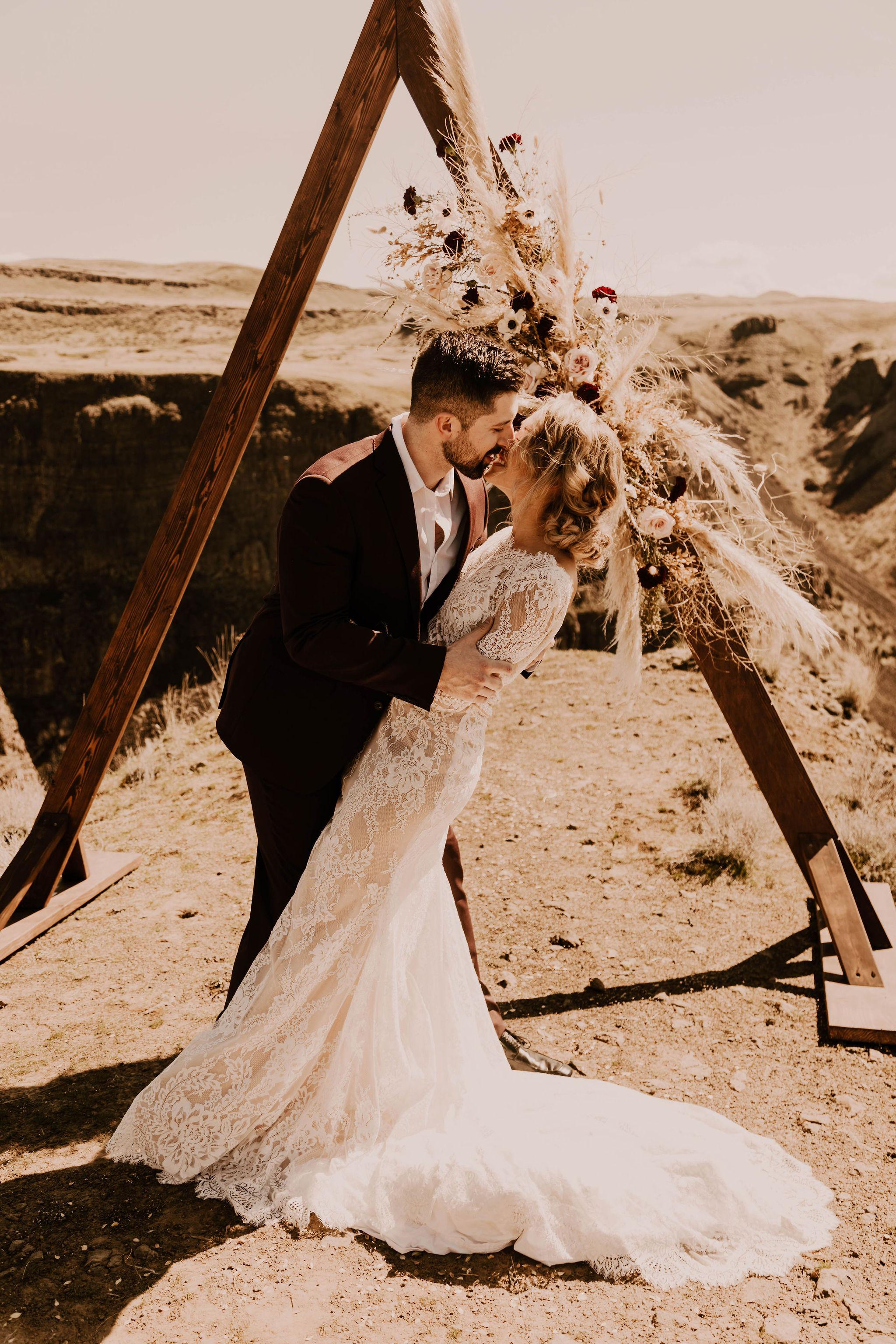 happy summer wedding couple long sleeve dress spokane