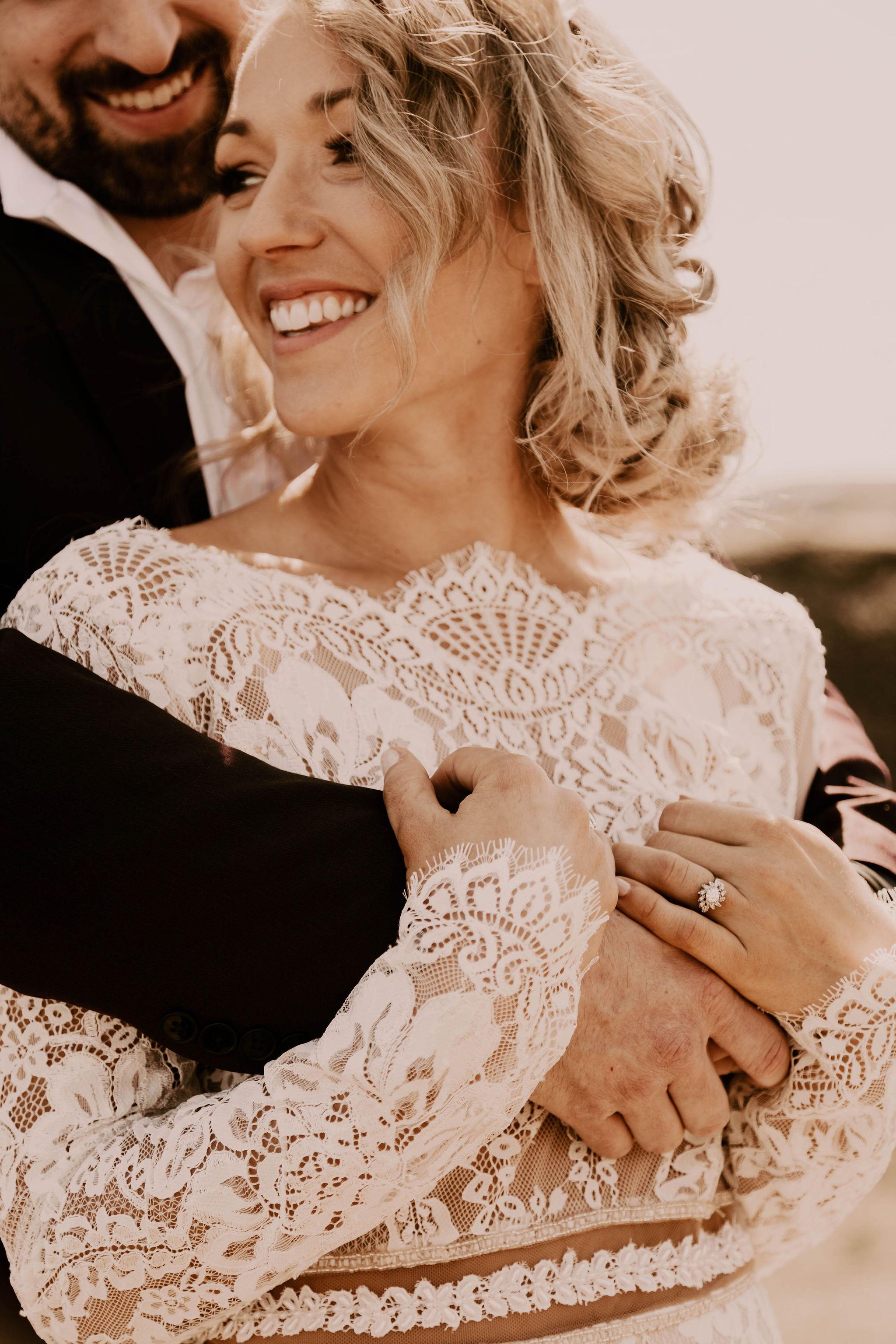 close up spokane couple wedding bride
