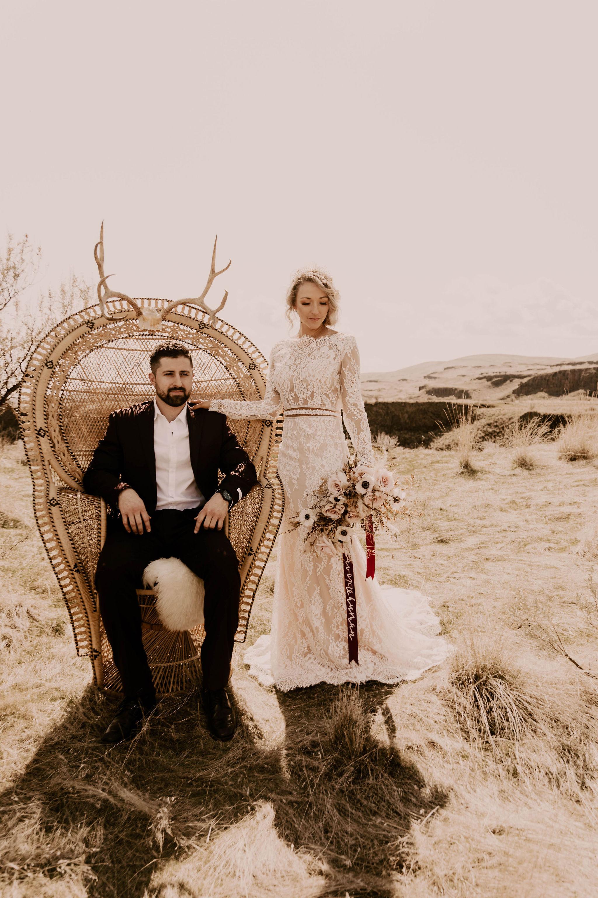 peacock chair spokane elopement bride