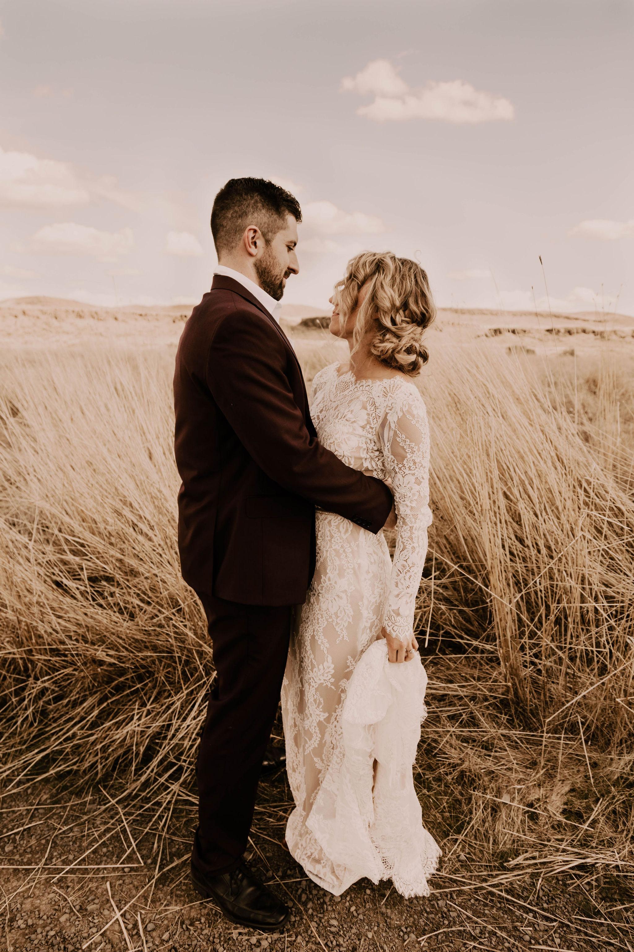 tall grass spokane elopement desert wedding