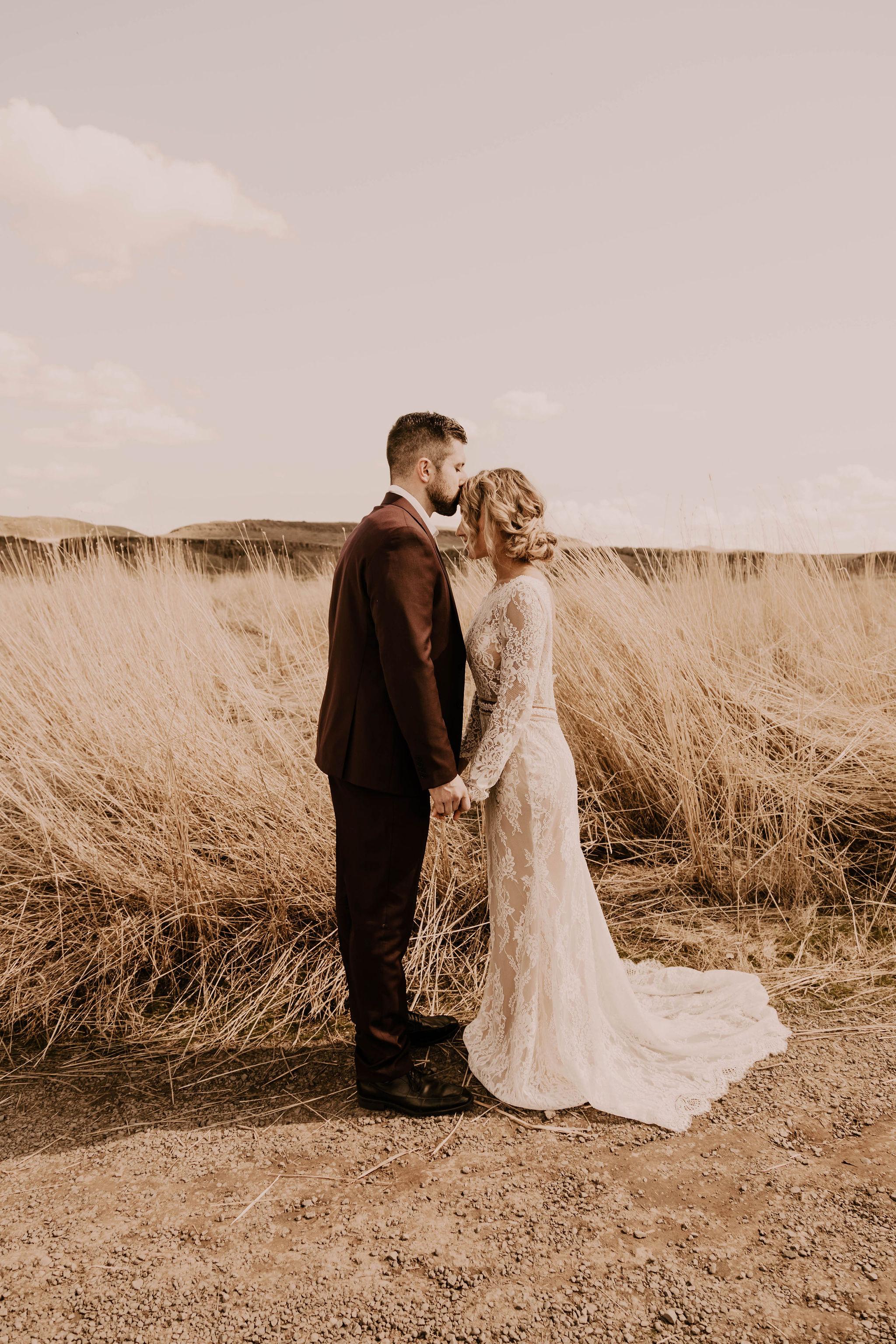 summer spokane elopement wedding dress long sleeve lace