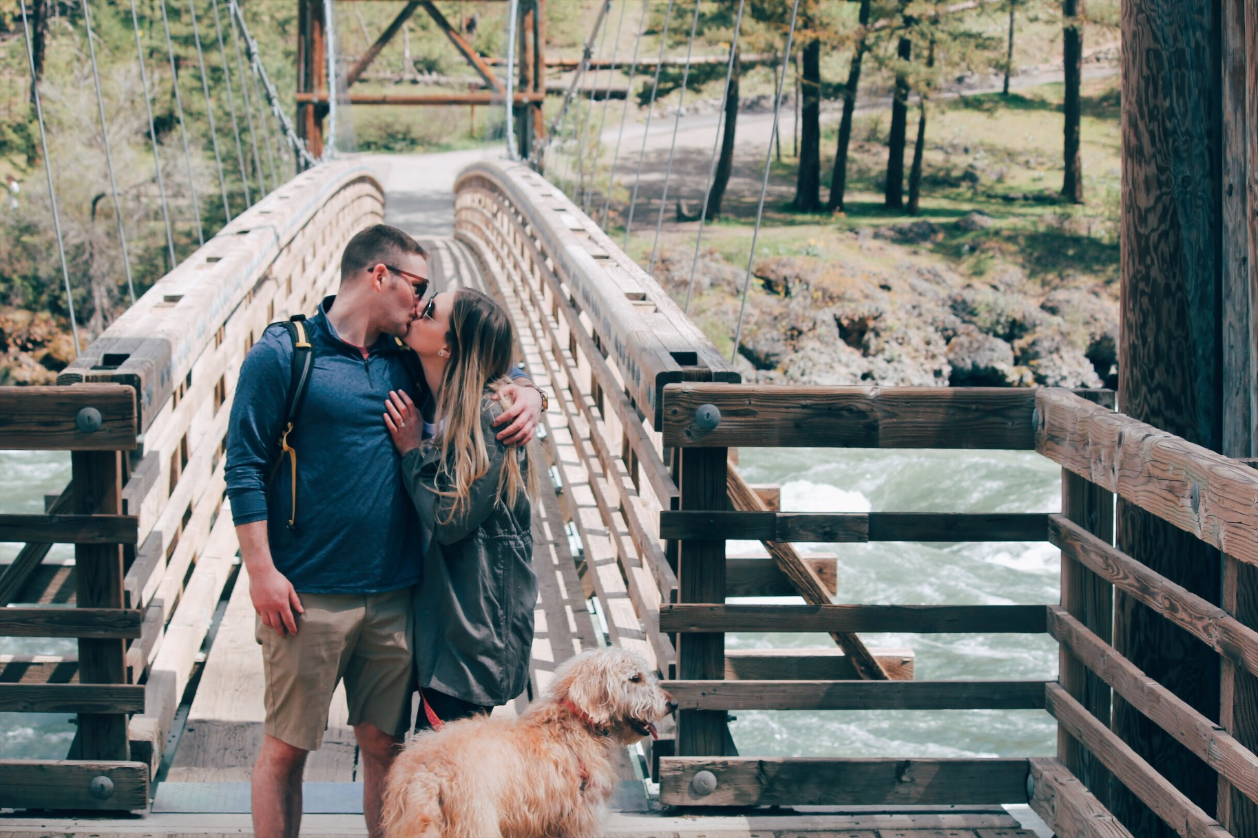 Engagement photo kissing Spokane bide
