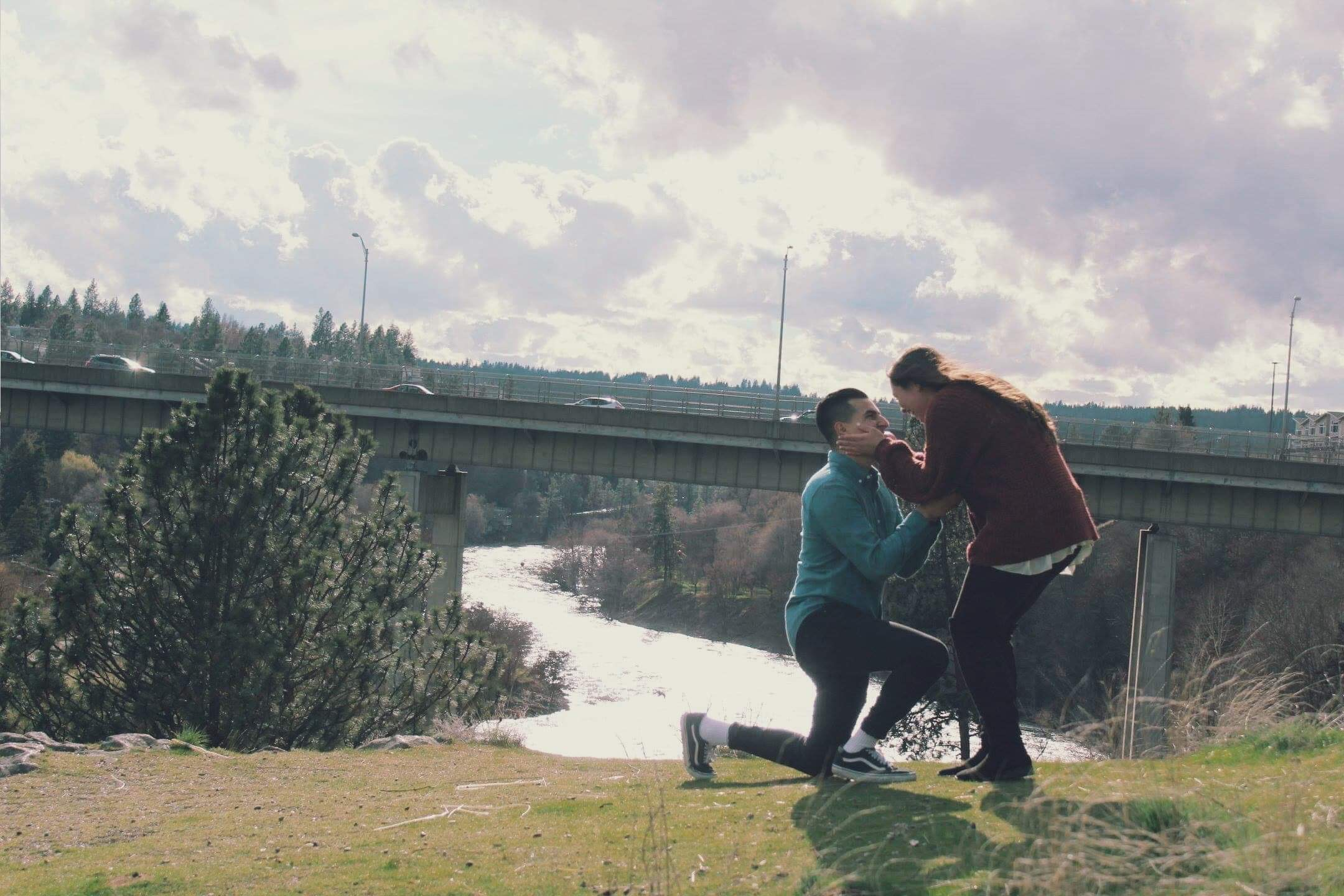 Proposal spokane engagement bride photo