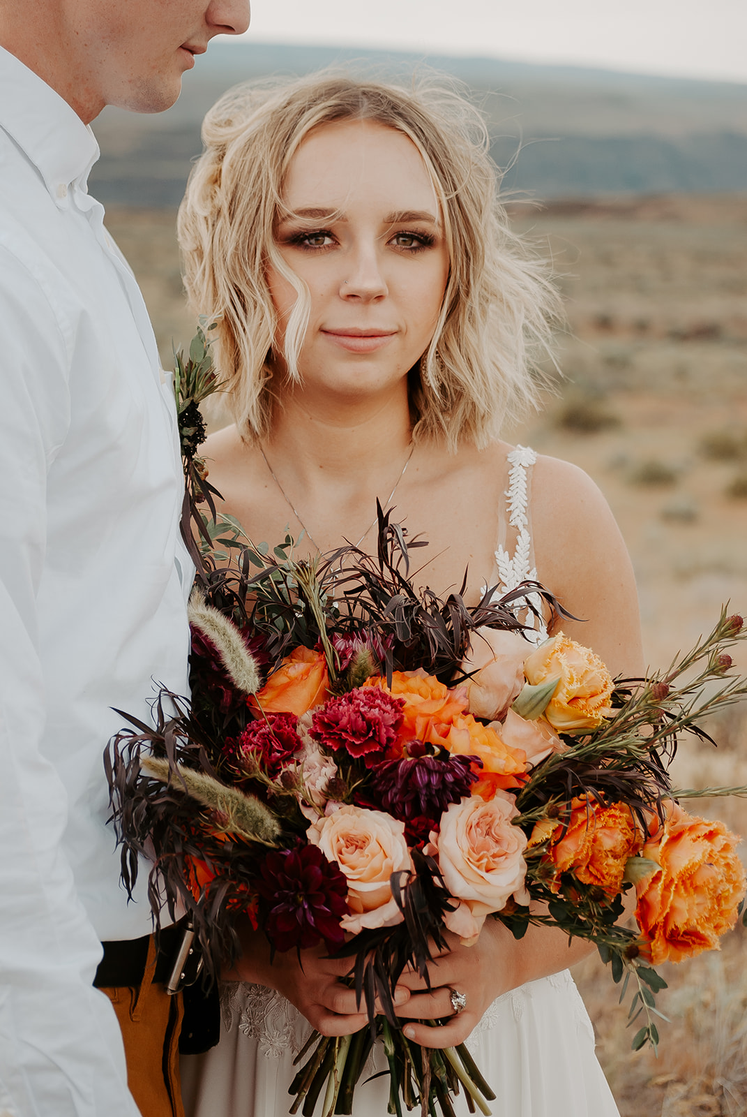 desert elopement wedding spokane washington bridal dress