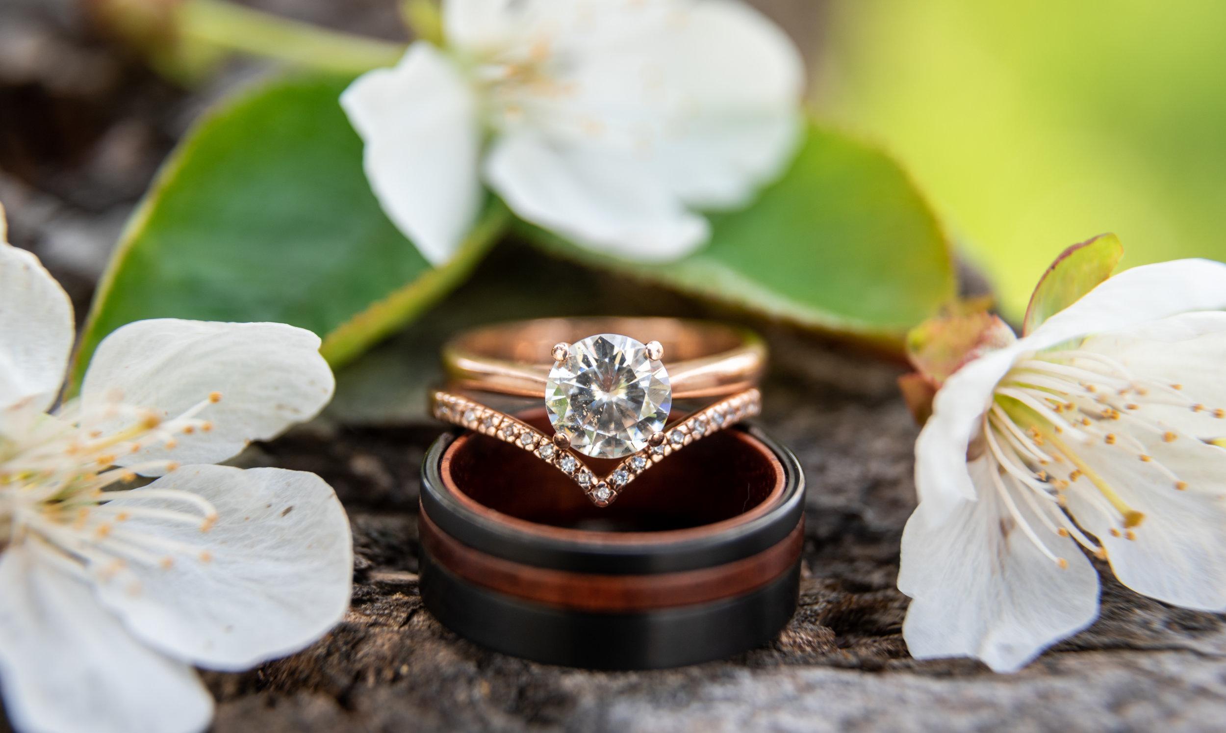 Spokane green bluff wedding dress bride rings