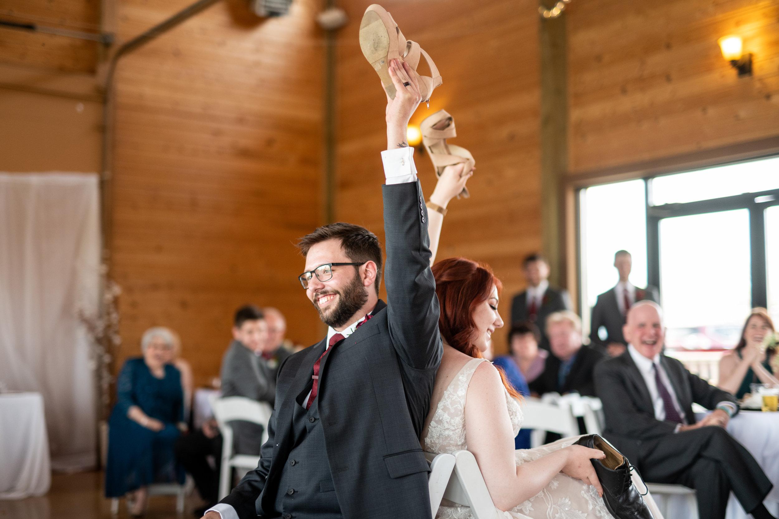 Spokane green bluff wedding dress bride shoe game