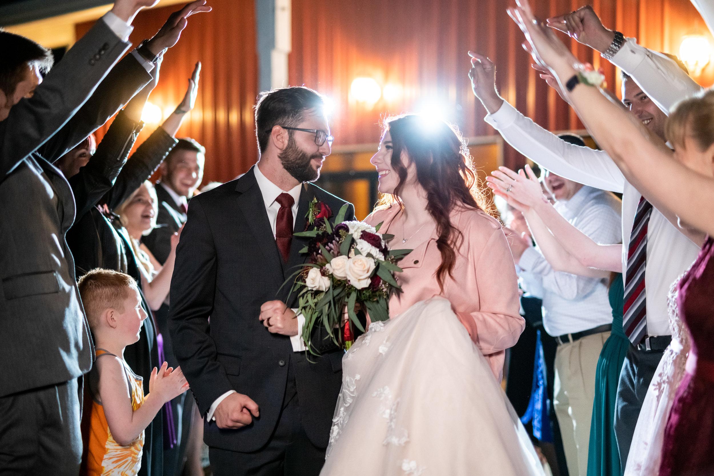 Spokane green bluff wedding dress bride exit