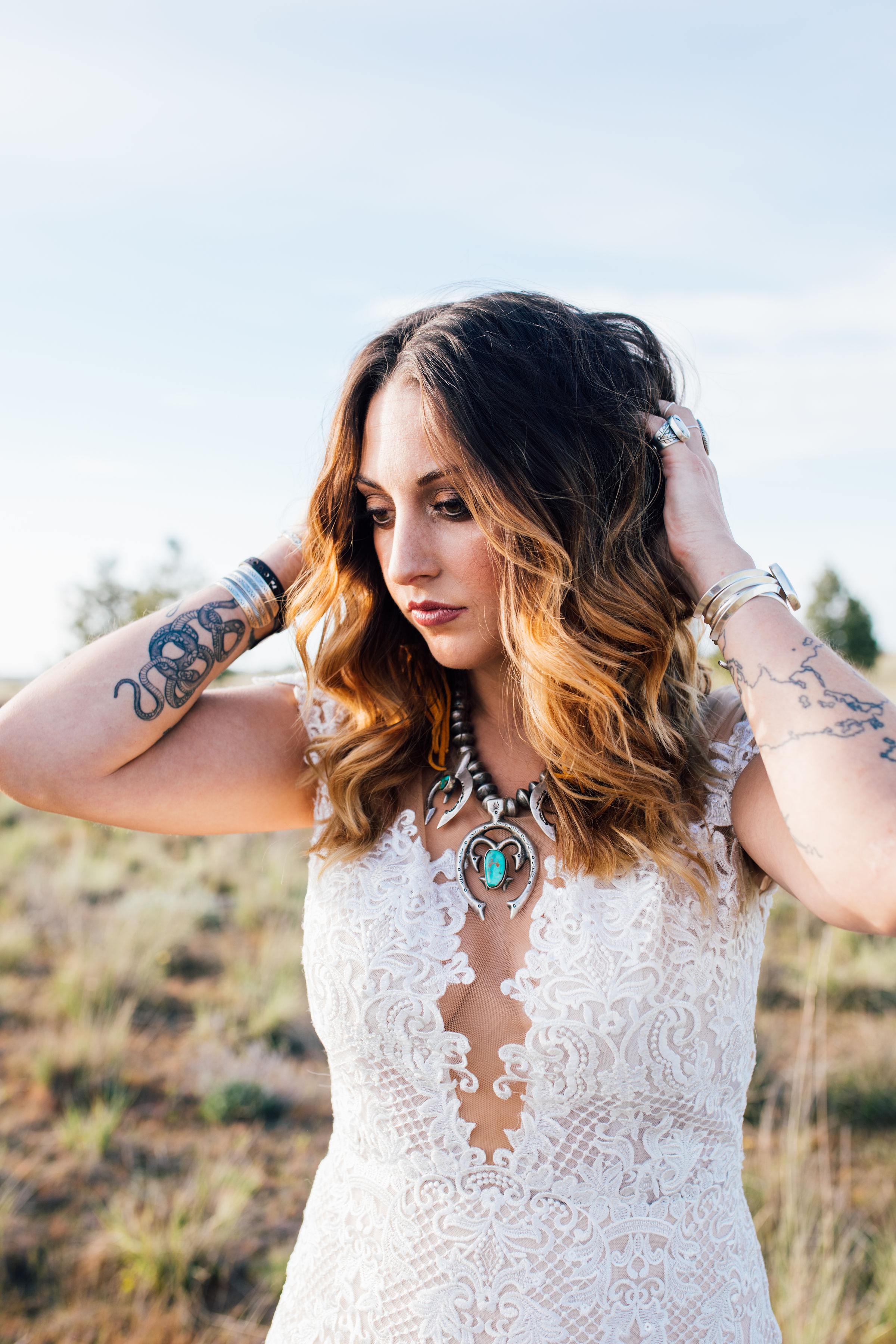 cool elopement spokane wedding dress tattoo necklace