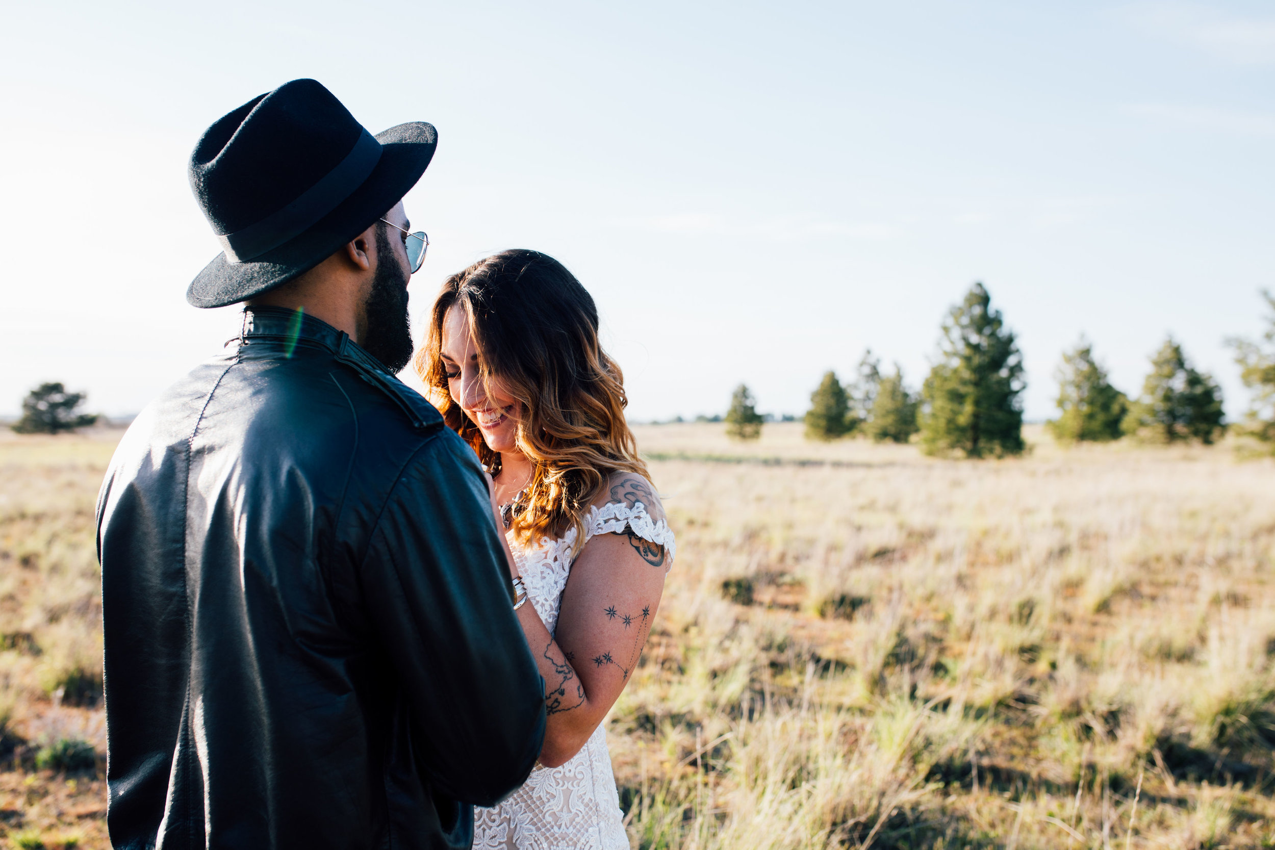 cool elopement spokane wedding laughing close in love