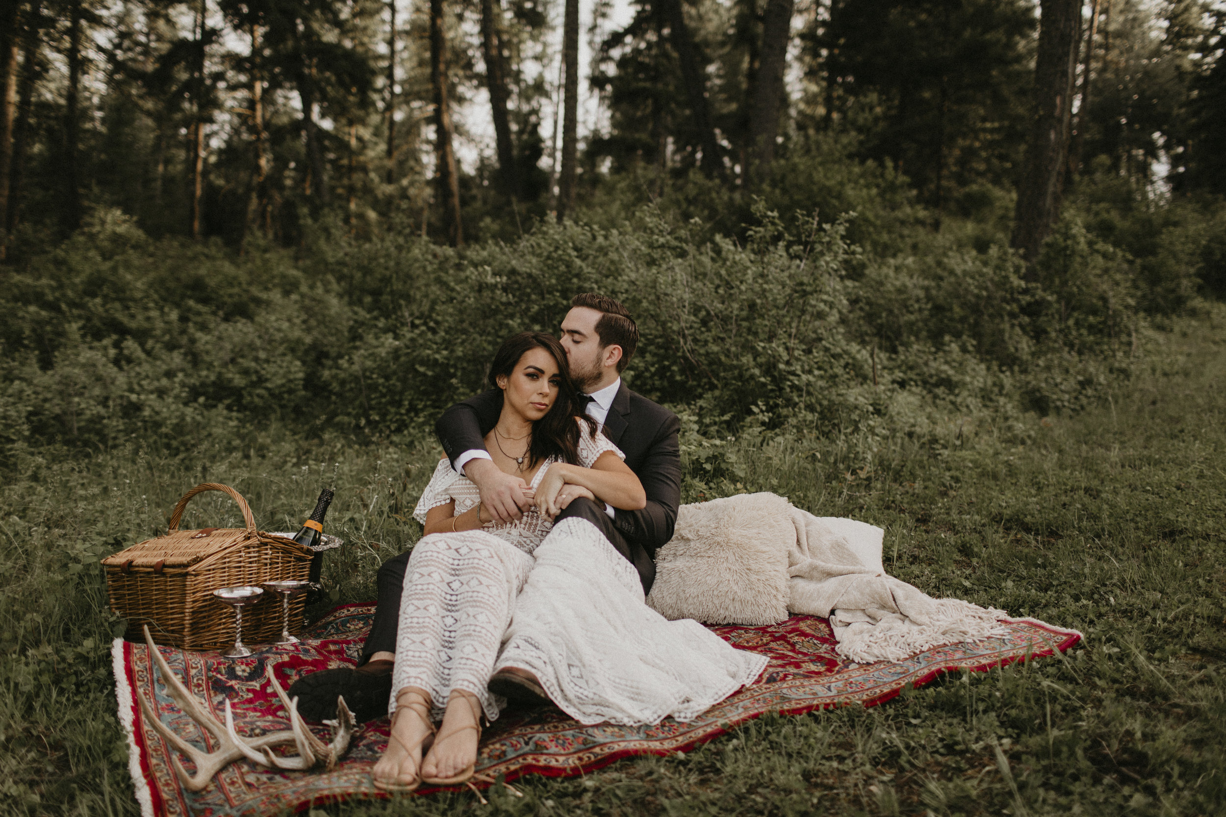 Spokane boho cattle wedding happily ever after dinner for two bride and groom couples table