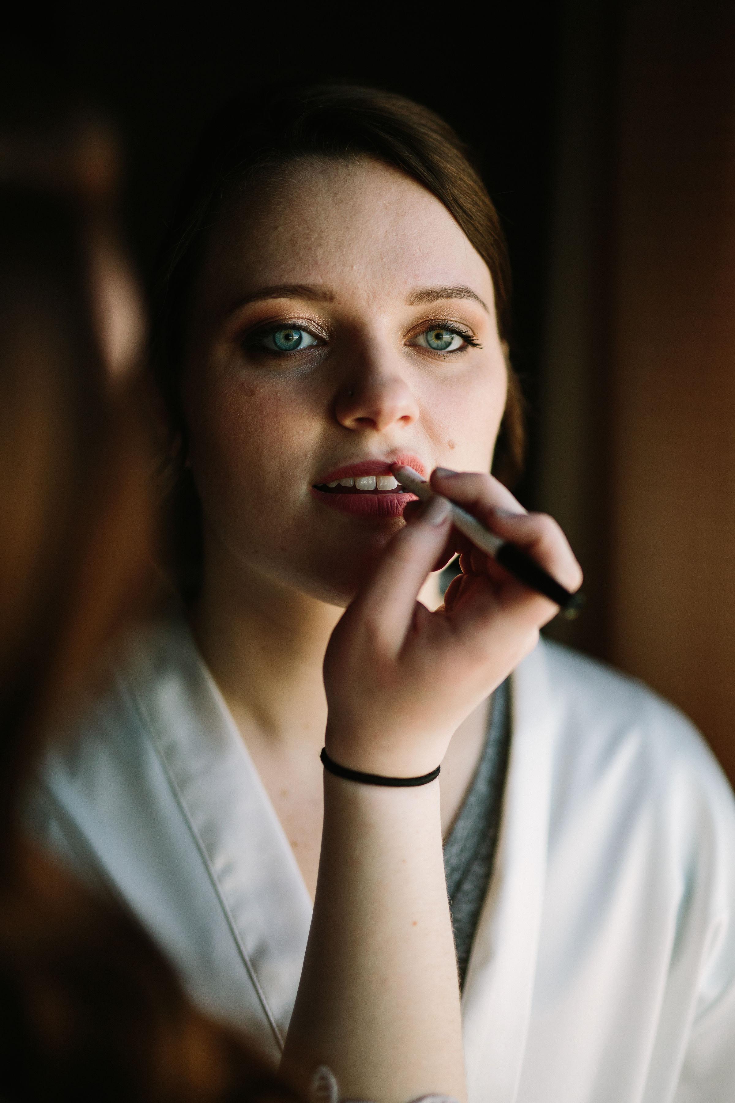 Fun Rustic spokane wedding bride lipstick getting ready shadows