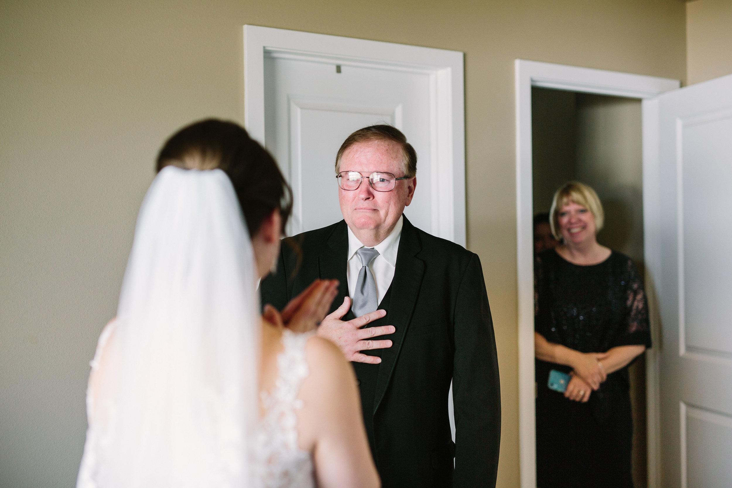 Fun Rustic spokane wedding dad crying happy tears seeing daughter reveal