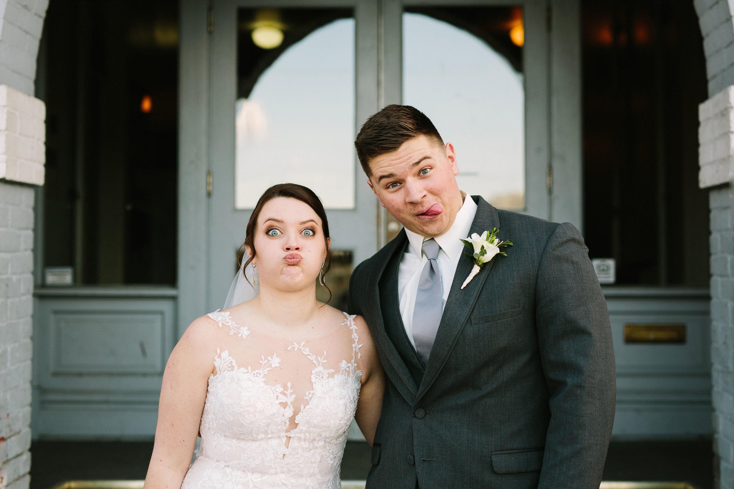 Fun Rustic spokane wedding close up duck lips funny face