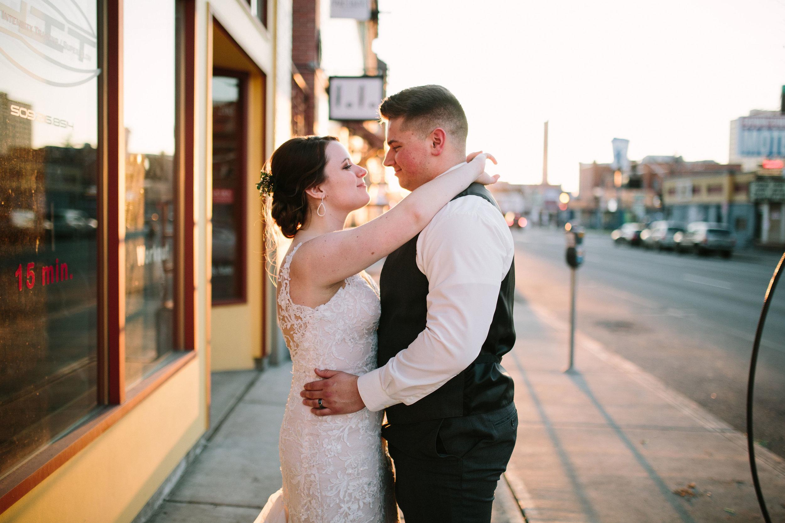 Fun Rustic spokane wedding street downtown starring eyes