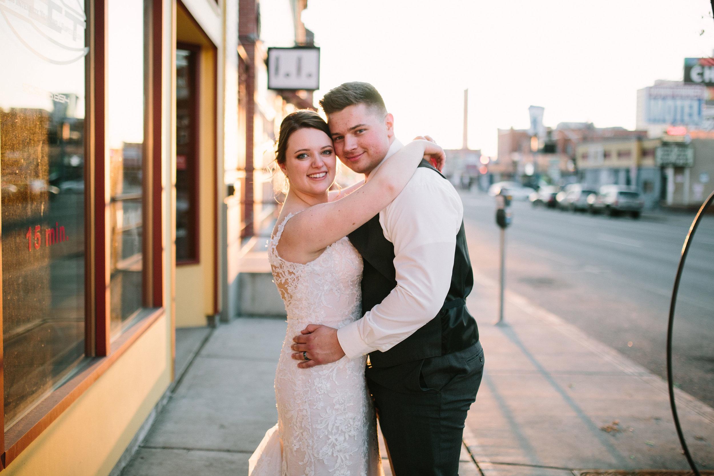 Fun Rustic spokane wedding portrait couple wedding day cars