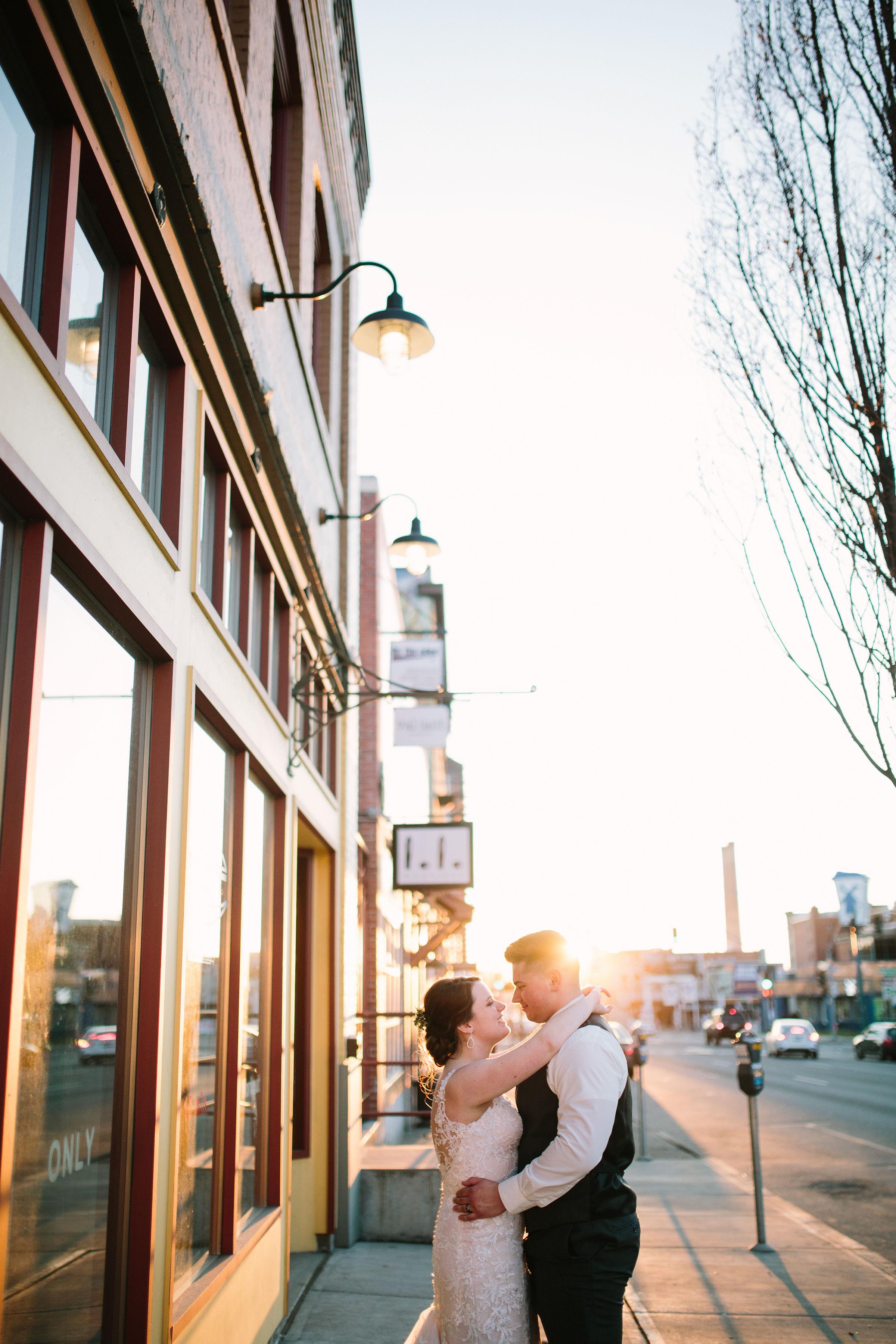 Fun Rustic spokane wedding intimate windows shop trees downtown