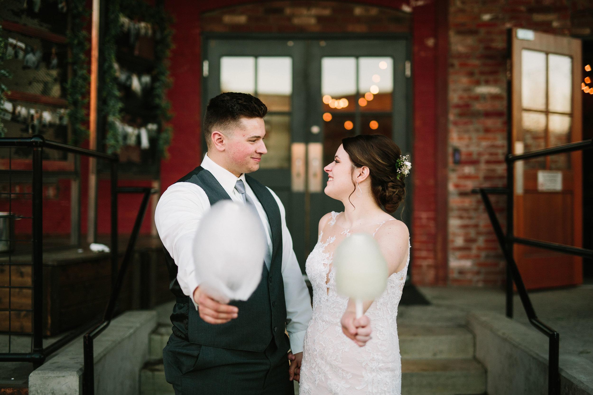 Fun Rustic spokane wedding vibes cotton candy machine carnival hair updo