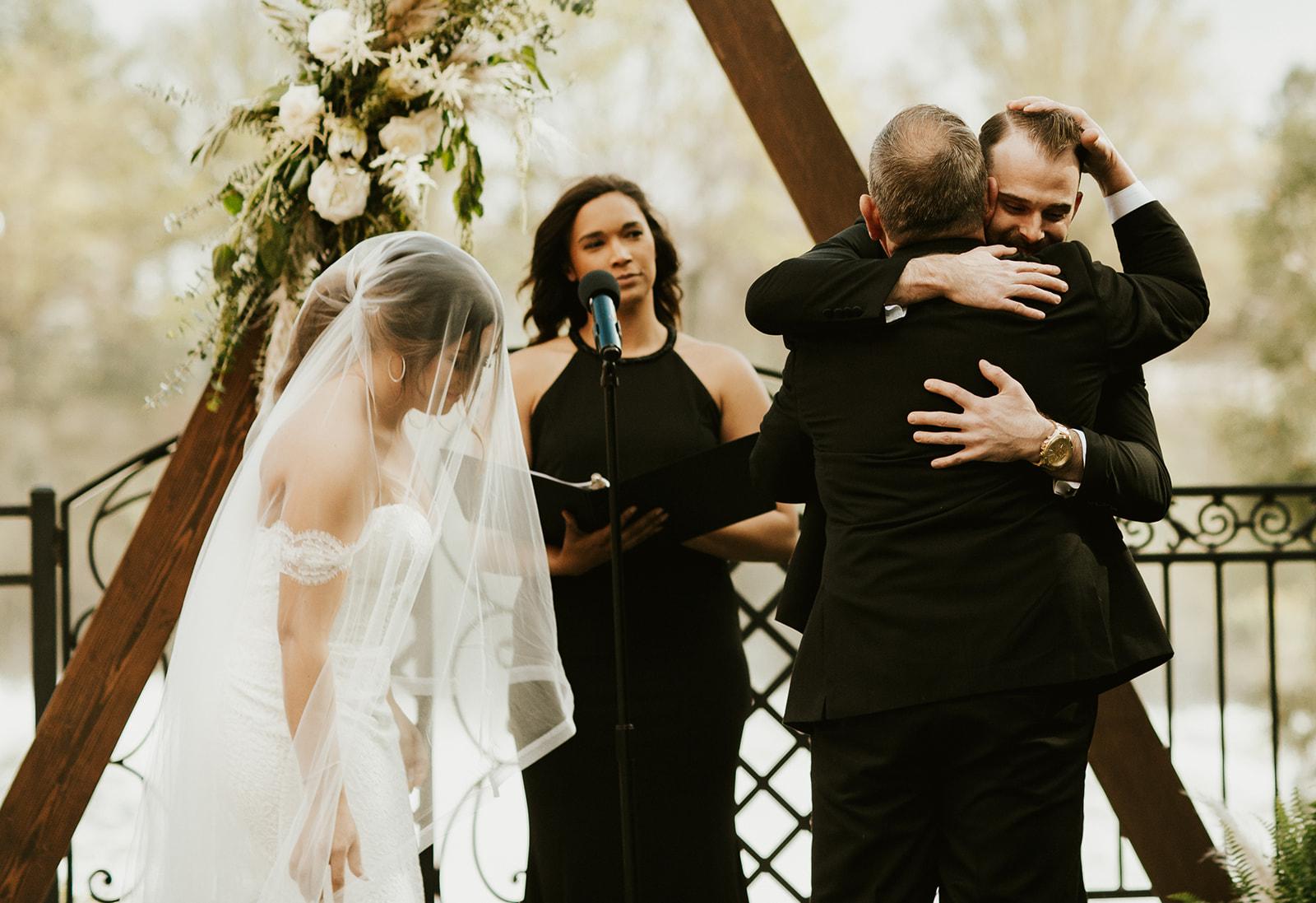 Chateau Rive Spokane Wedding Spokane Blog Dress hug father
