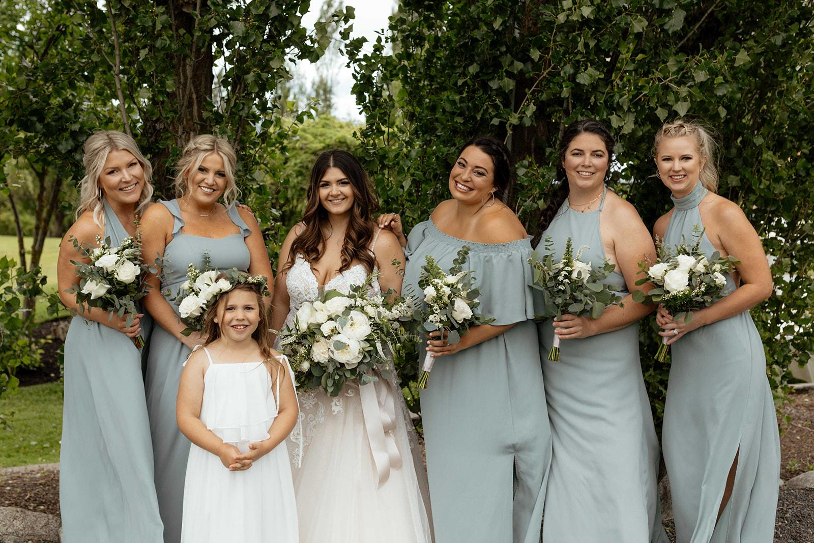 beacon hill wedding honest in ivory dress spokane bridemaids