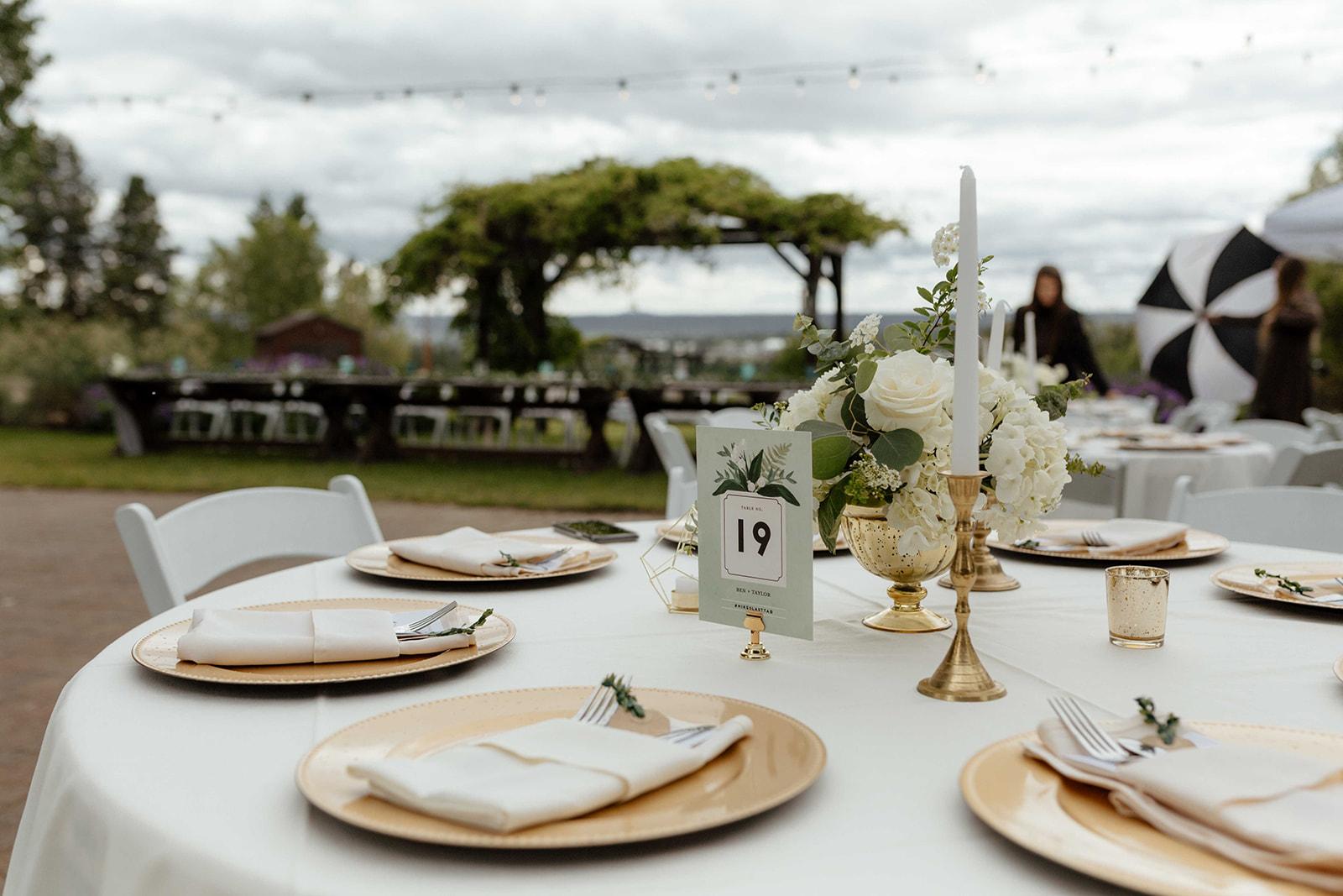 beacon hill wedding honest in ivory dress spokane table setting