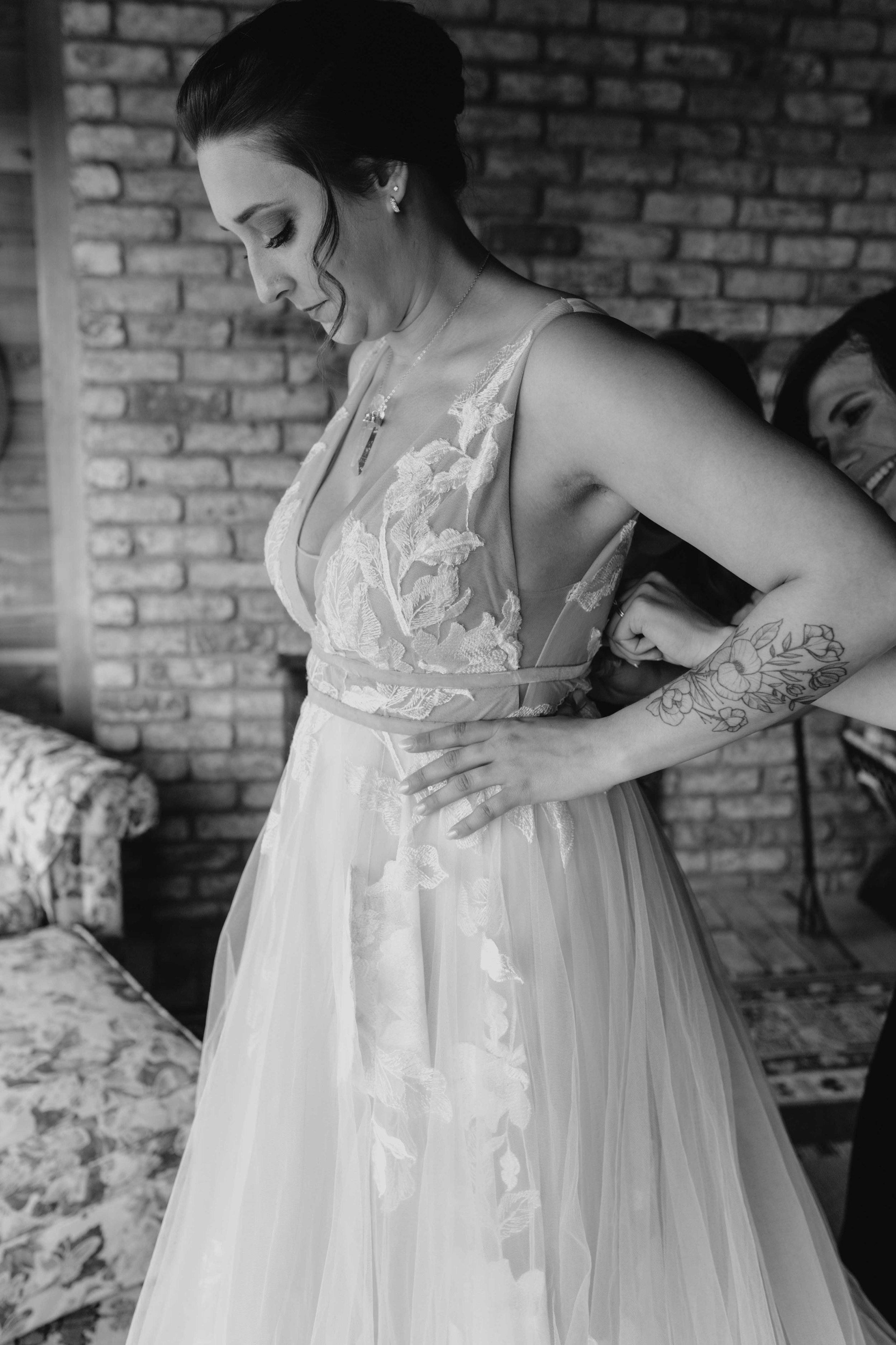 black and white moody unique elopement spokane bride