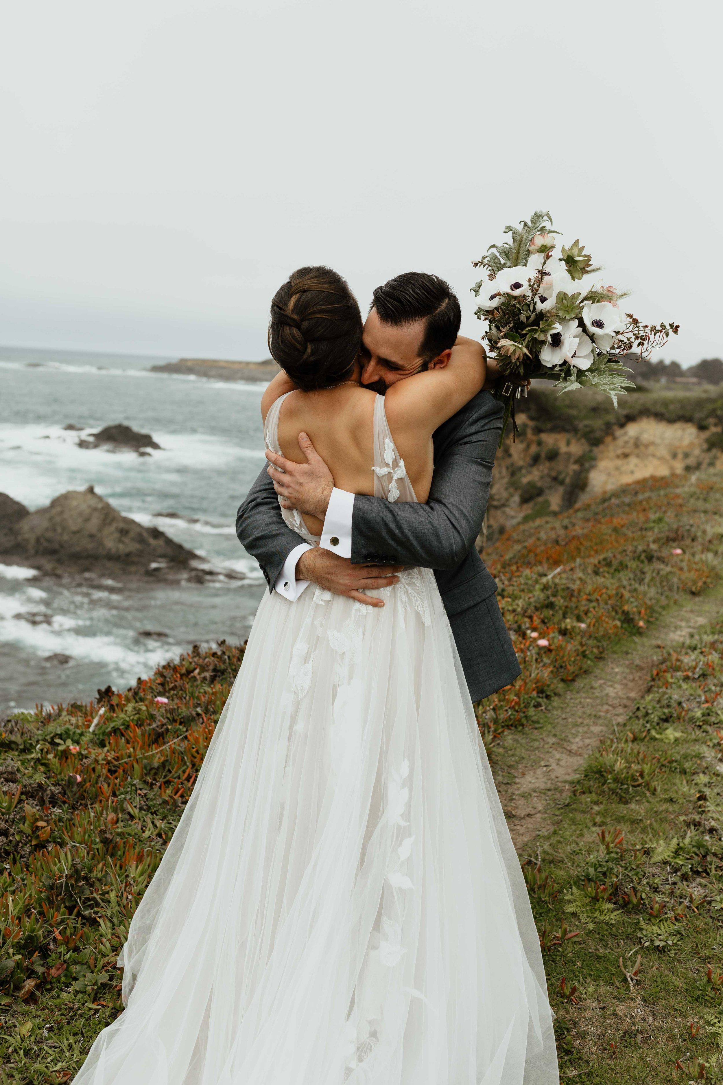 first look spokane bride and groom beach