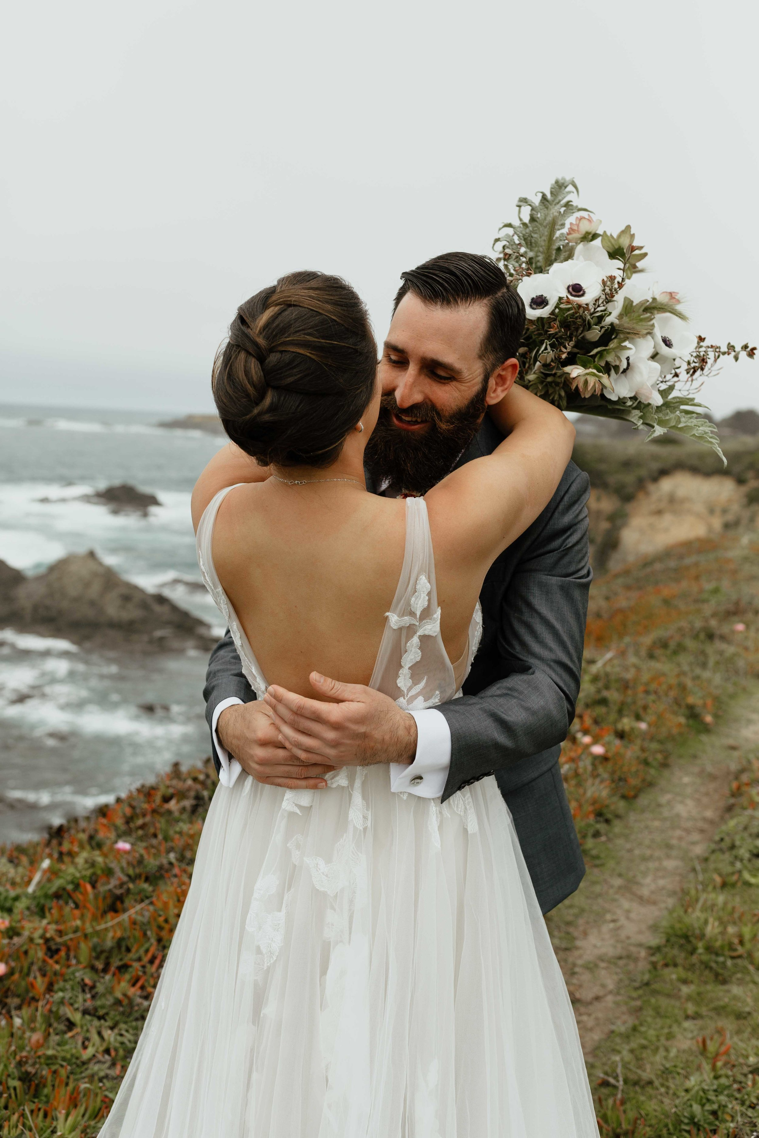 open back minimal unique spokane gown elopement wedding