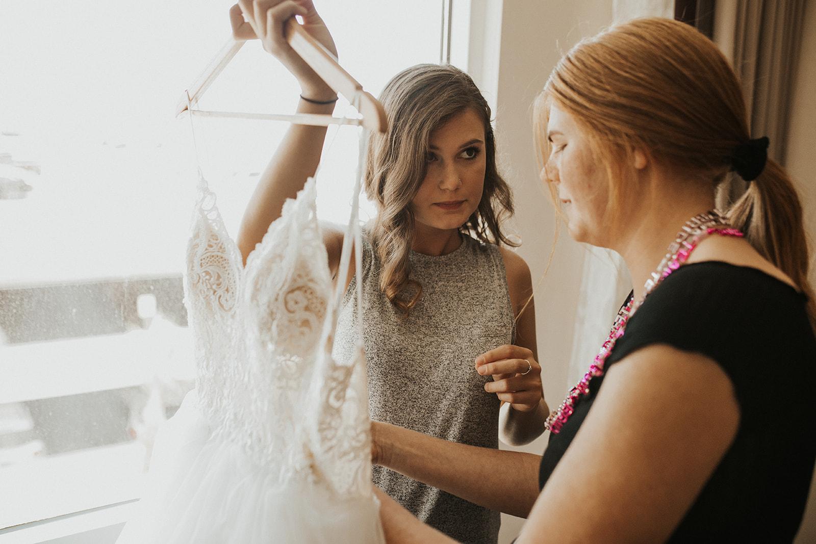 wedding dress spokane bride getting ready