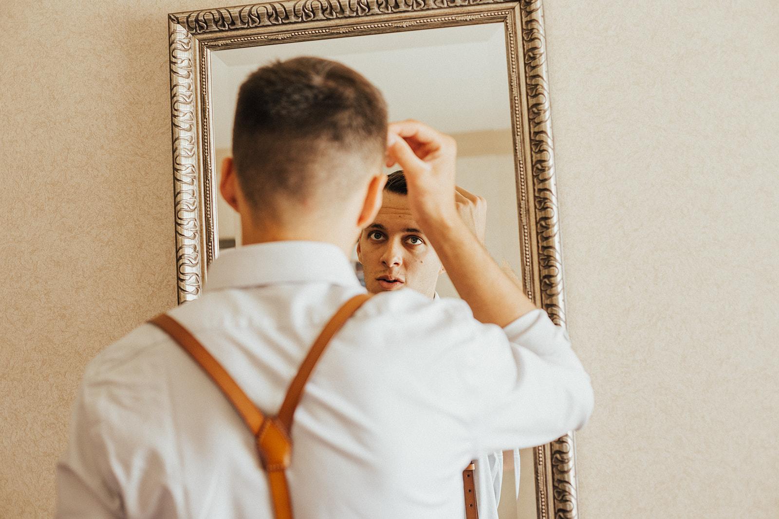 groom getting ready vegas wedding spokane couple