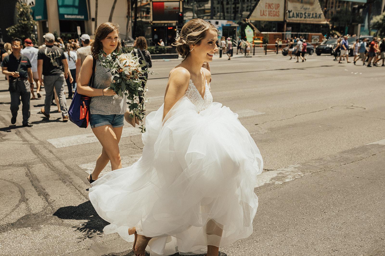 bride walking to groom vegas wedding spokane bride