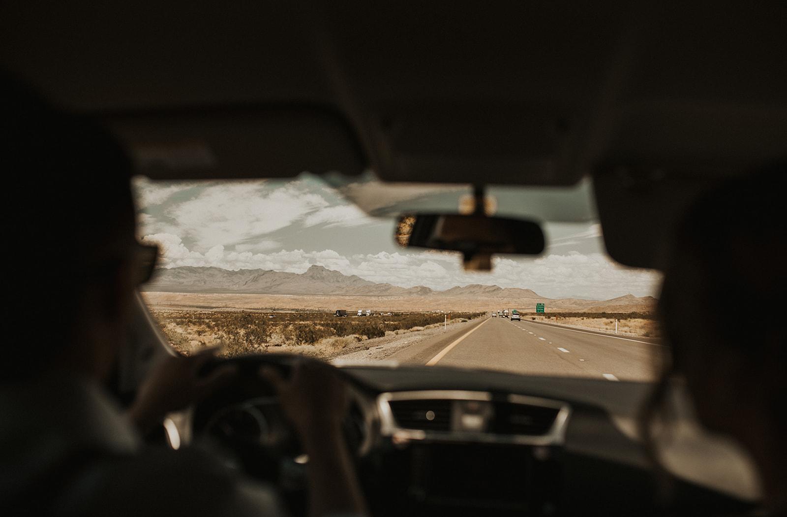 driving to desert spokane bride and groom vegas wedding